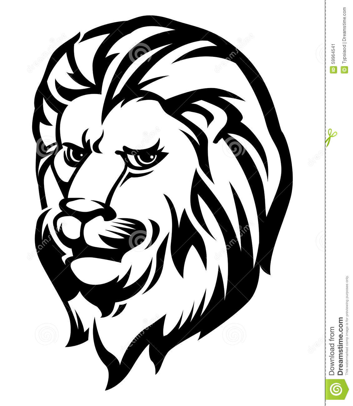 Line Drawing Of Animal Faces : Lion head black and white stock vector image of