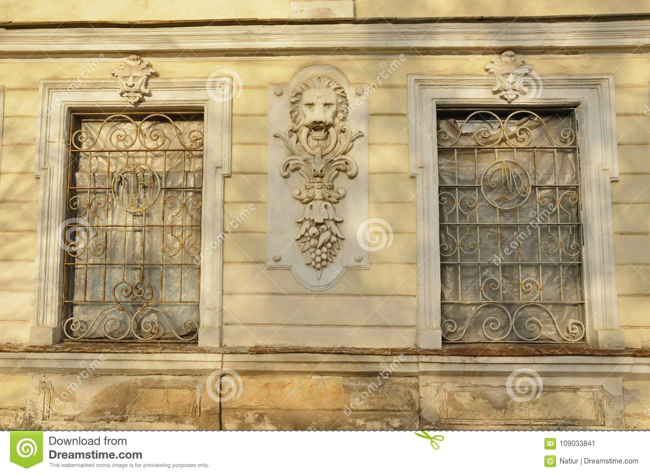 Lion Head Building Exterior Wall Sculptural Decoration Stock Image ...