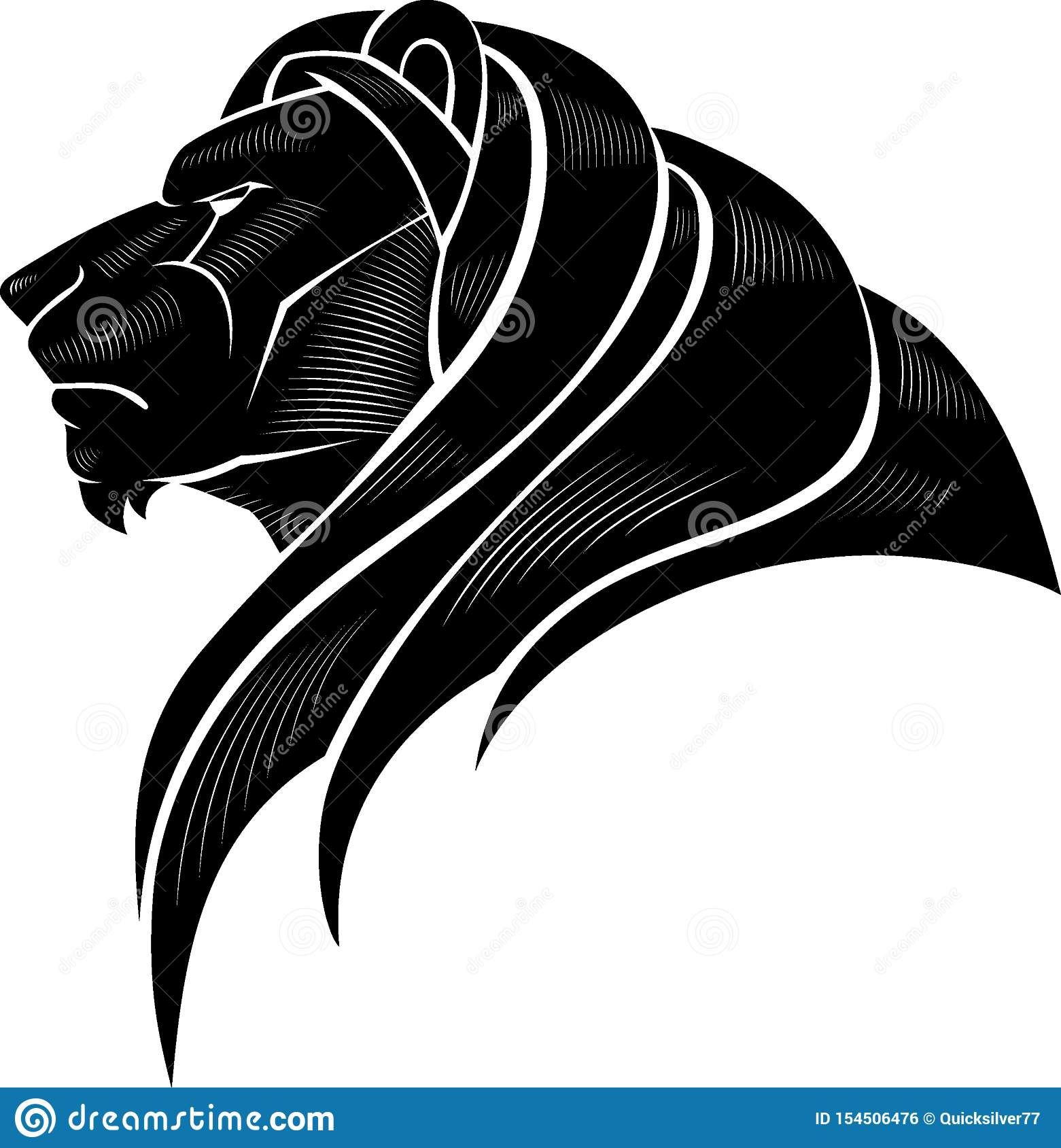 Lion Head Calligraphic Side View