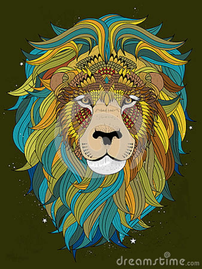 Lion Head Coloring Page Stock Vector Image 68670080