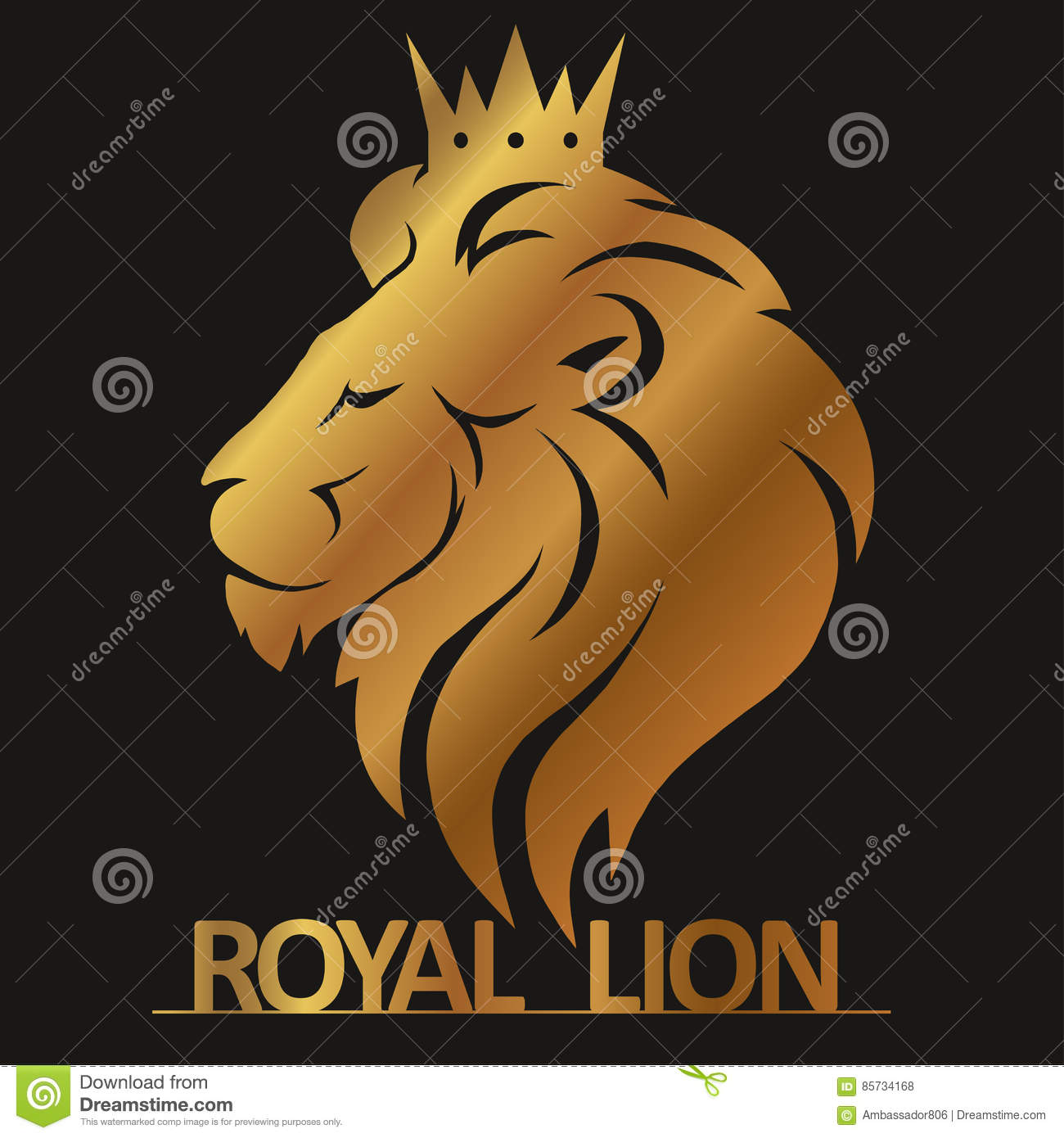 lion head with crown logo stock vector illustration of