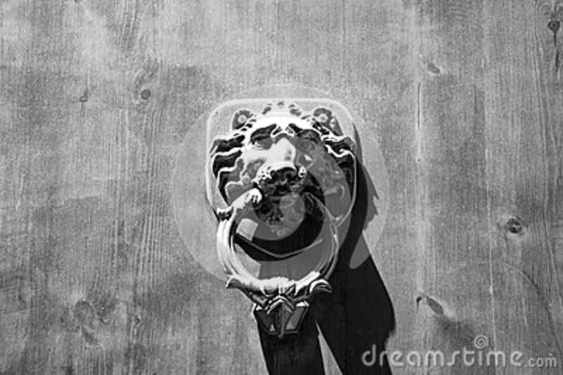 Lion Head Door Knocker, Ancient Knocker, Florence, Italy. (black and white)