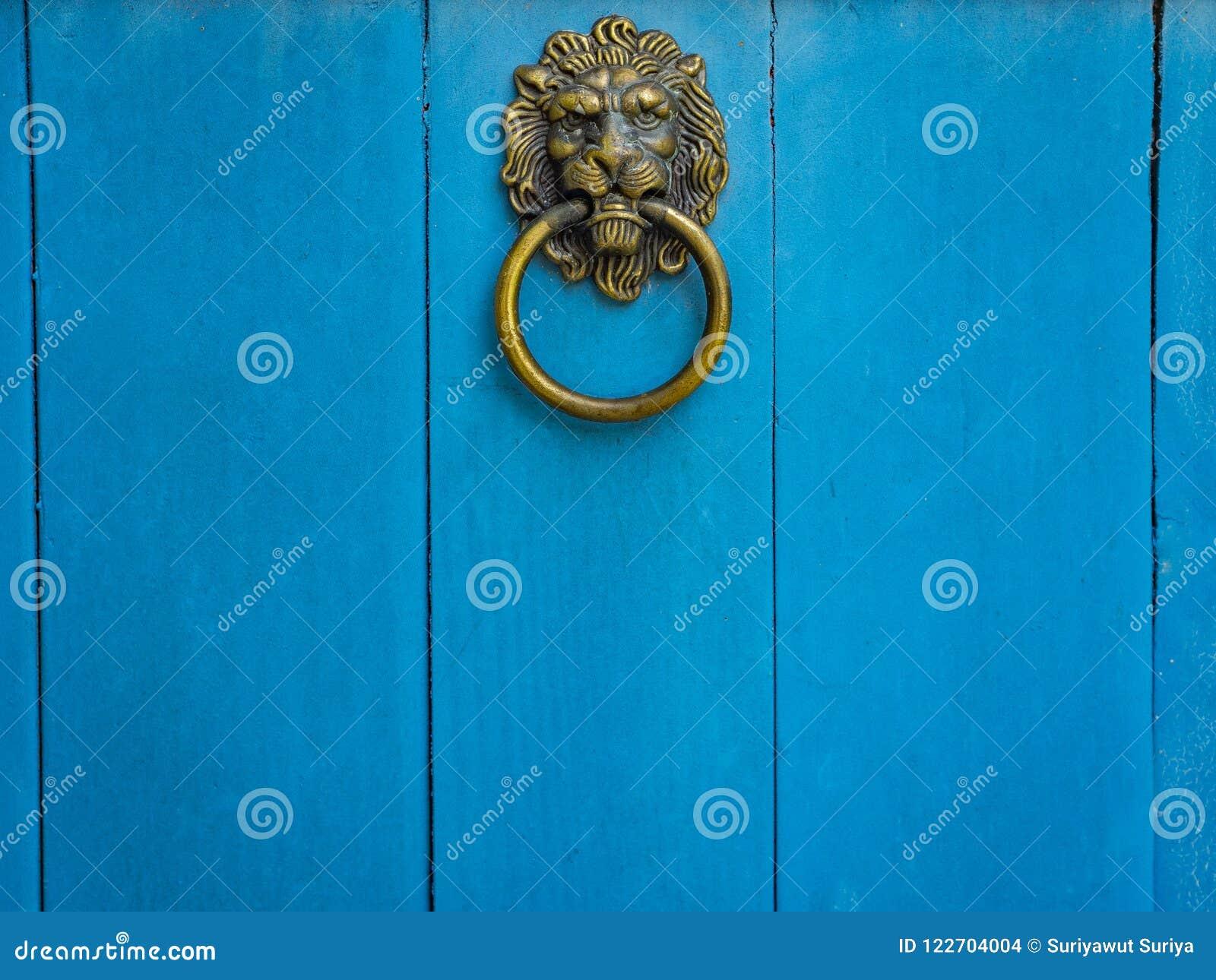 Lion Head Door Knocker på blå trädörr