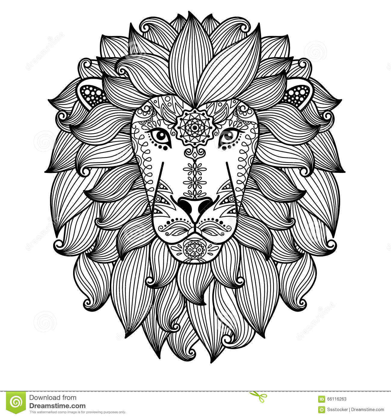 Hand drawn cute vector lion head with ethnic floral pattern black