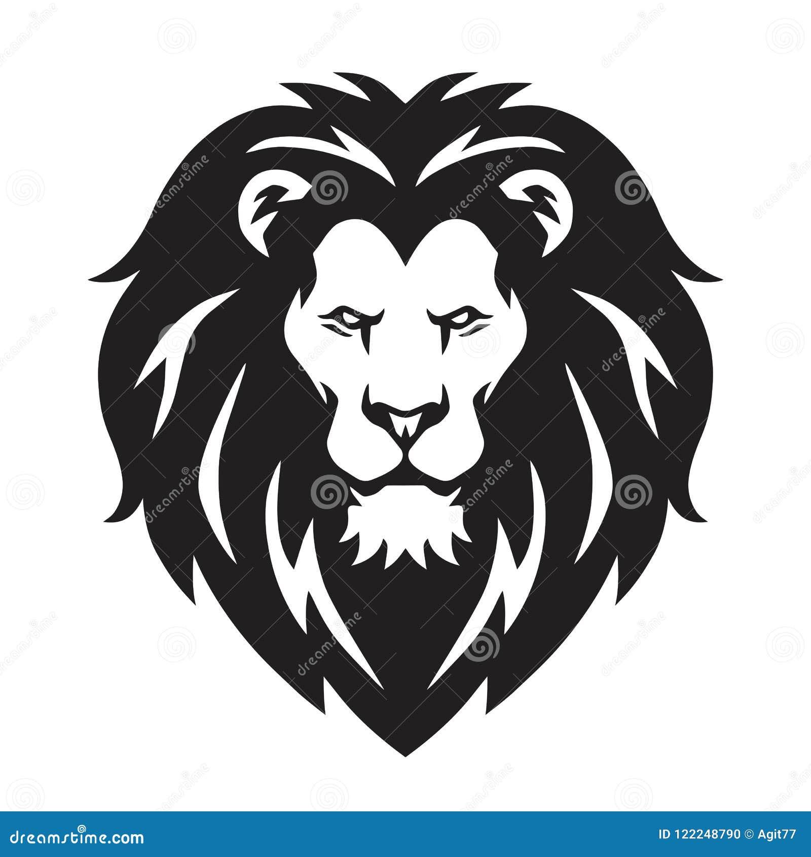 Lion Head Logo tecken, svartvit design för vektor