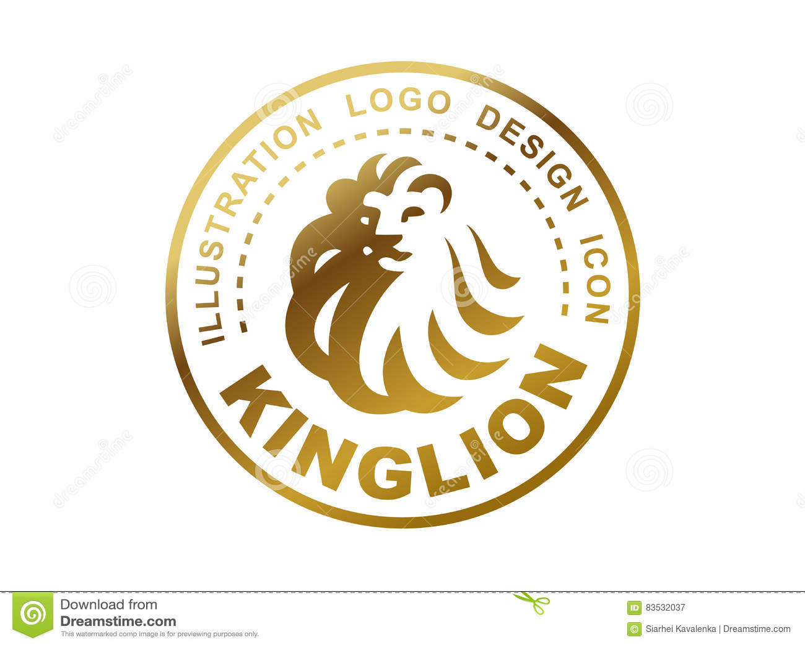 lion head logo vector illustration emblem design stock