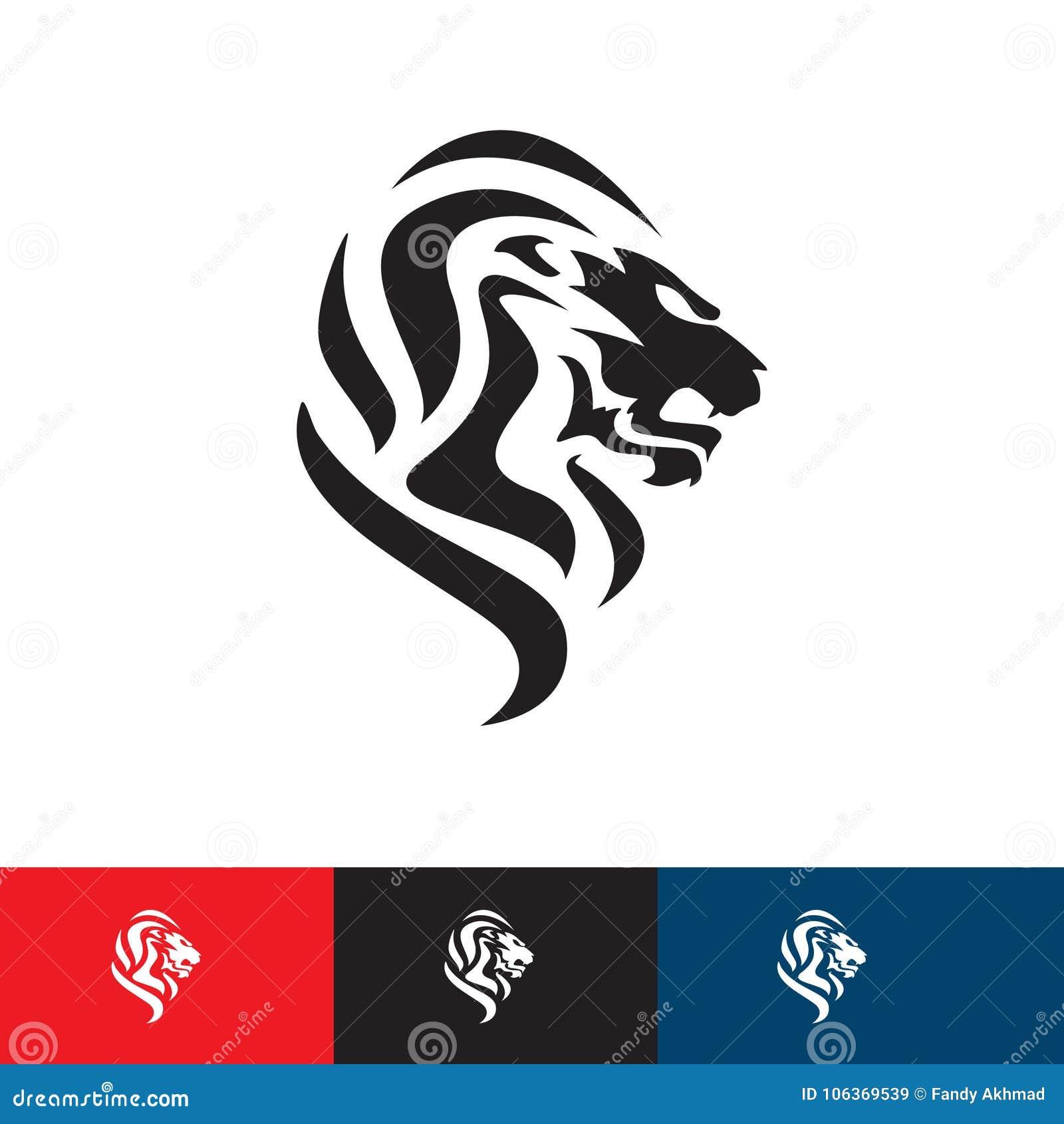Great Lion Head Logo - Lion Concept Illustration  Stock