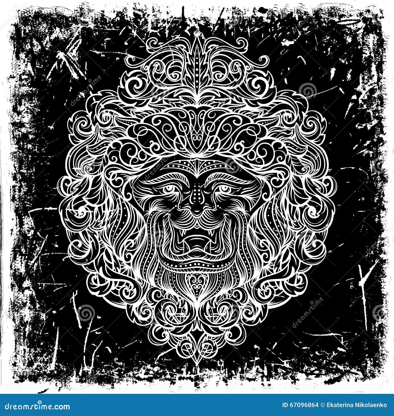 Lion Head met abstract ornament op grungeachtergrond