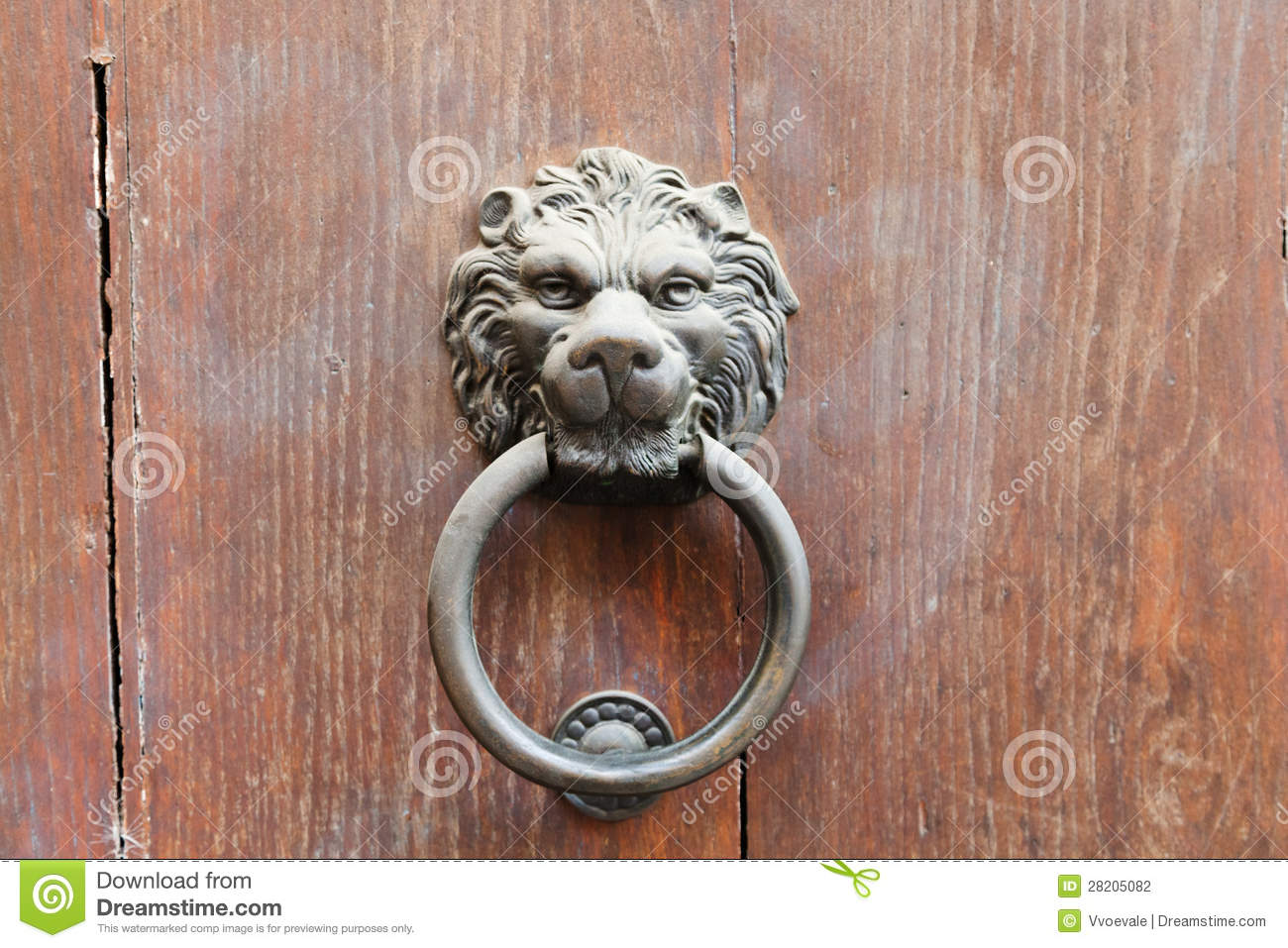 Lion Head Shaped Old Door Handle With Ring Stock