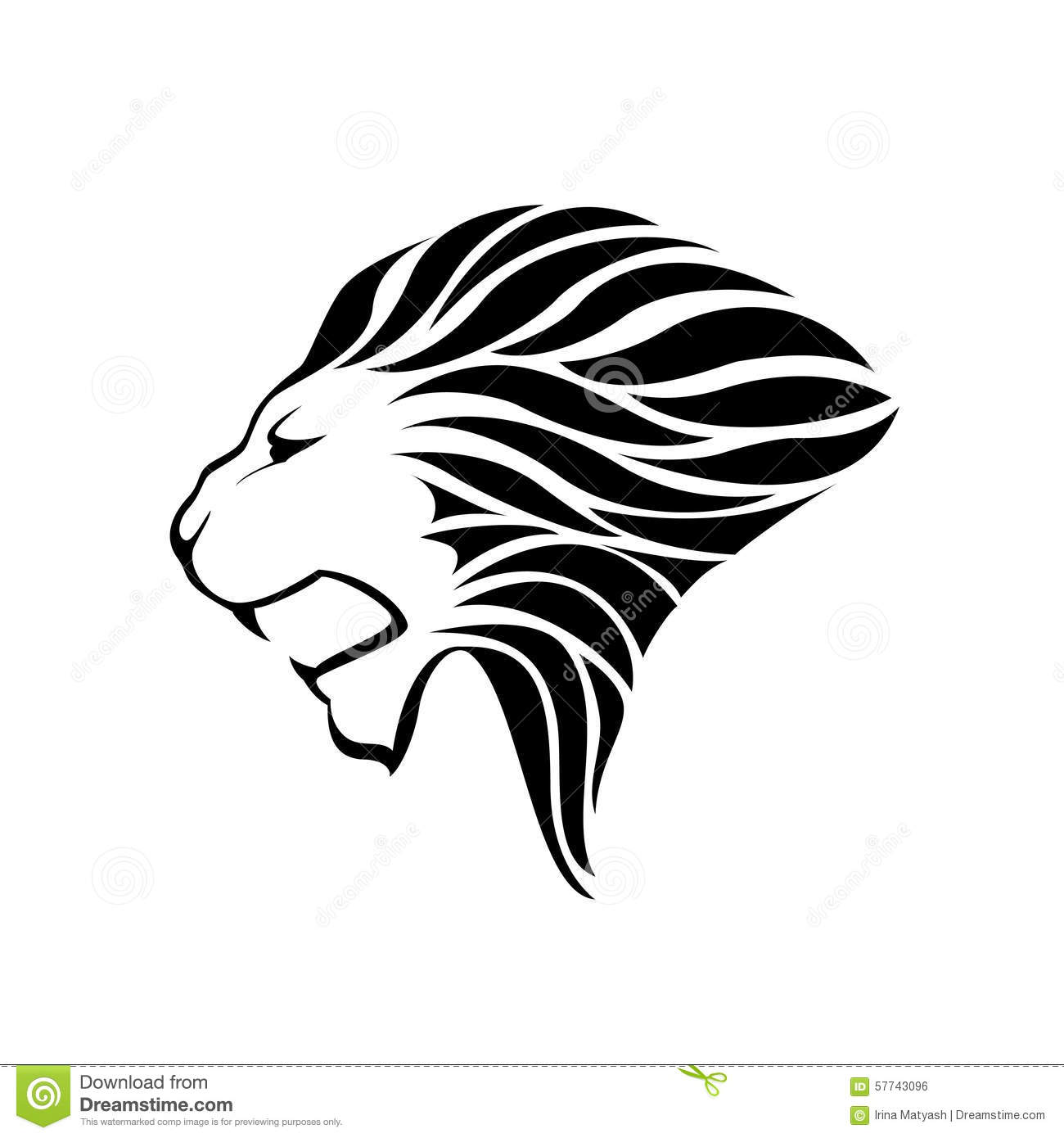 Lion head silhouette on white background - vector illustration.
