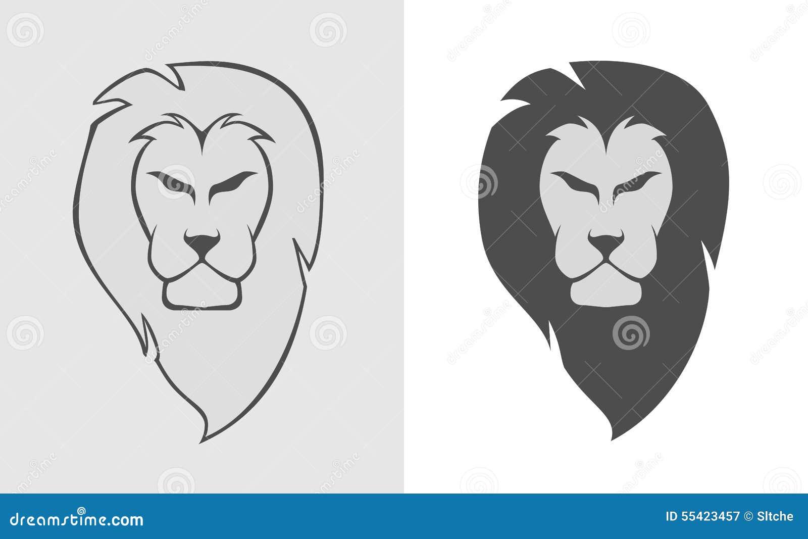 Lion Head Simple Logo Illustration Stock