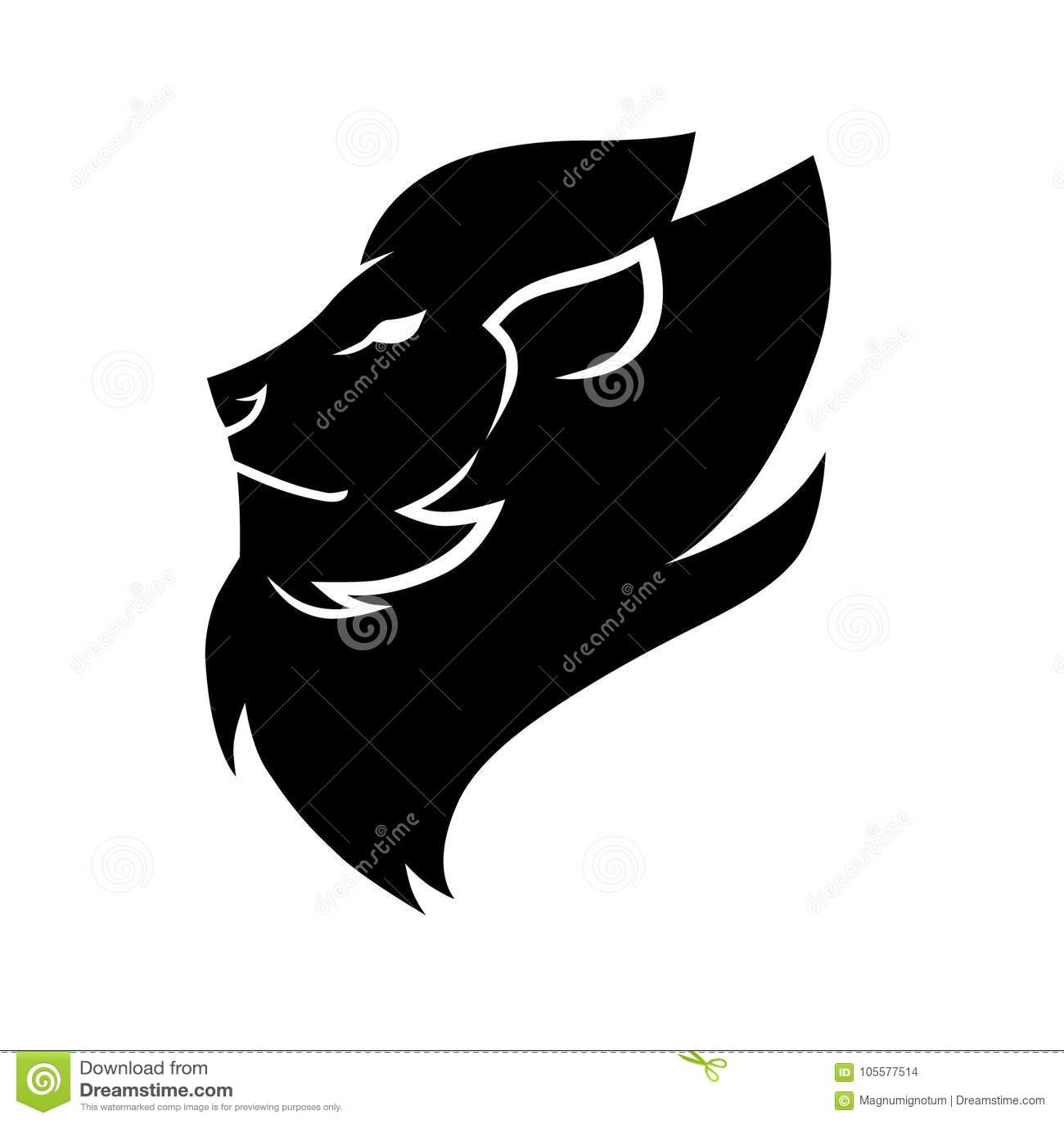 Lion Head Symbol Icon Black On White Stock Vector Illustration