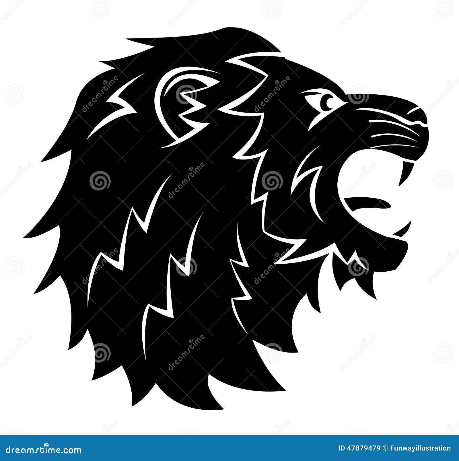 lion head tattoo illustration cartoon vector 47879465. Black Bedroom Furniture Sets. Home Design Ideas