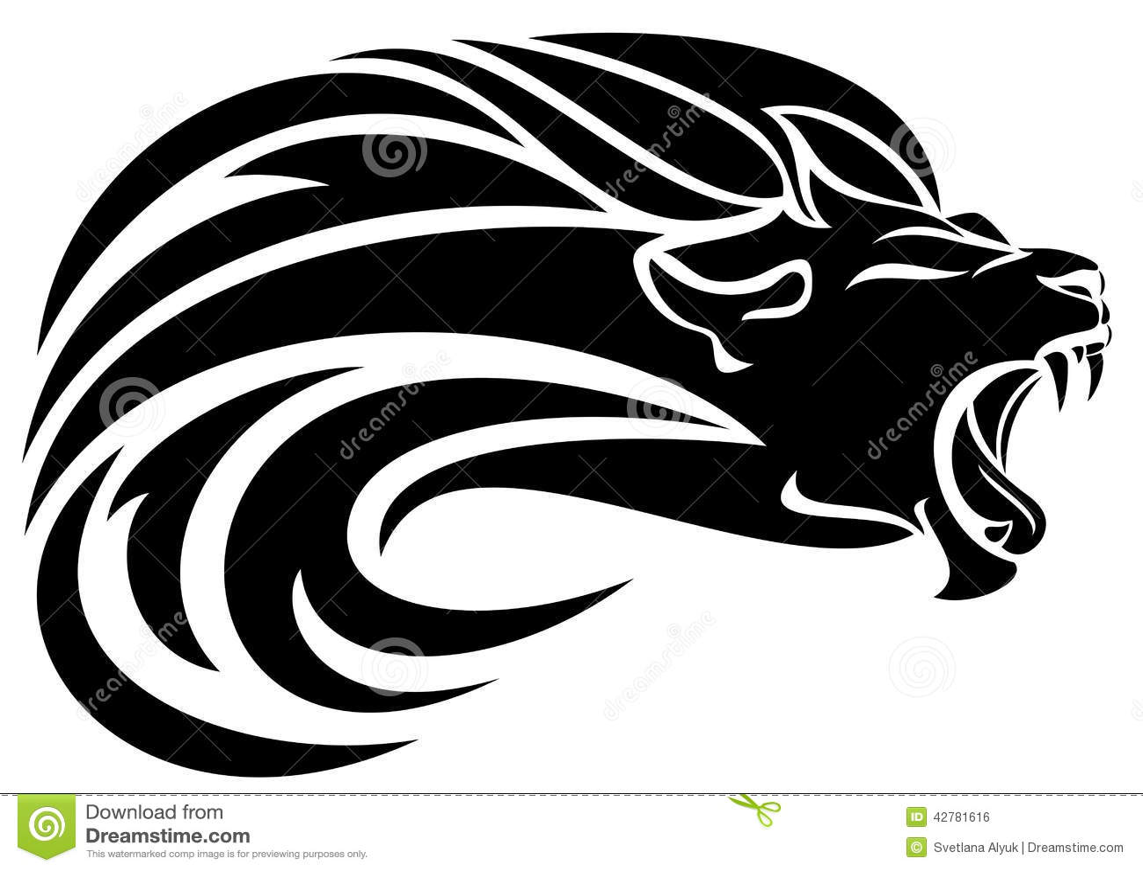 Lion head tribal design - black and white vector mane swirls.