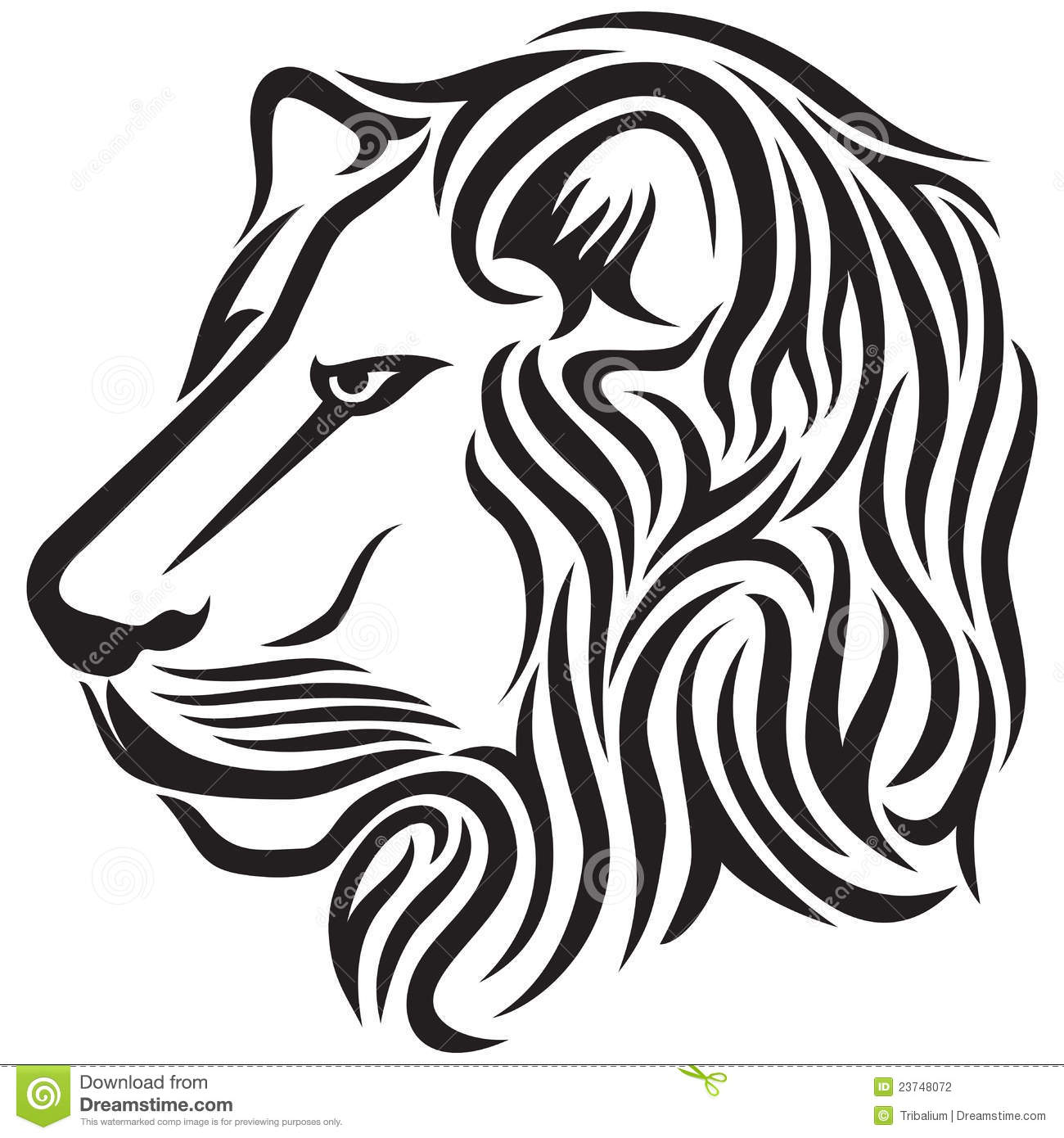 Lion Head Tribal Tattoo Stock Vector. Image Of Aggressive