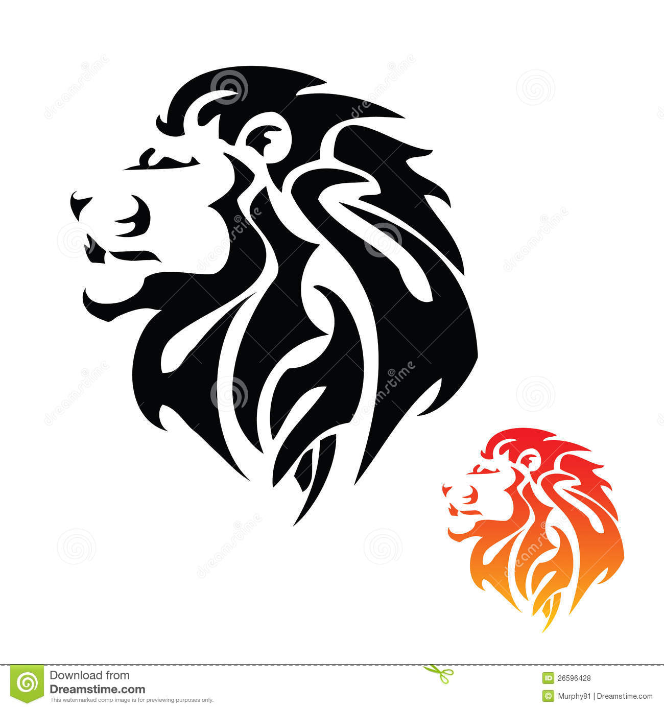 Lion head tribal tattoo royalty free stock photos image 26596428