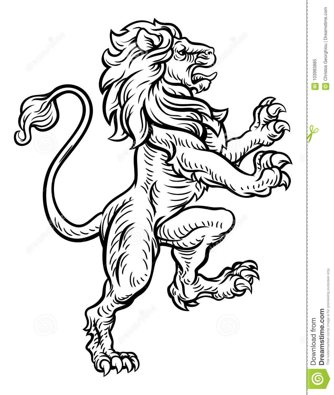 f86e096c095c0 A lion rampant standing on its back legs from a coat of arms or medieval  heraldic crest