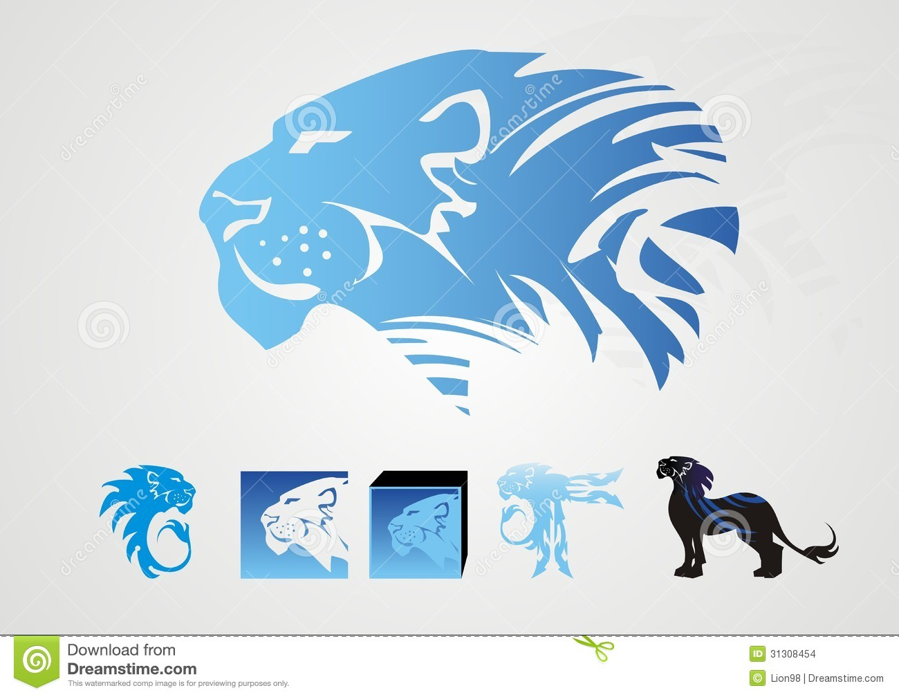White lion with blue background logo - photo#34