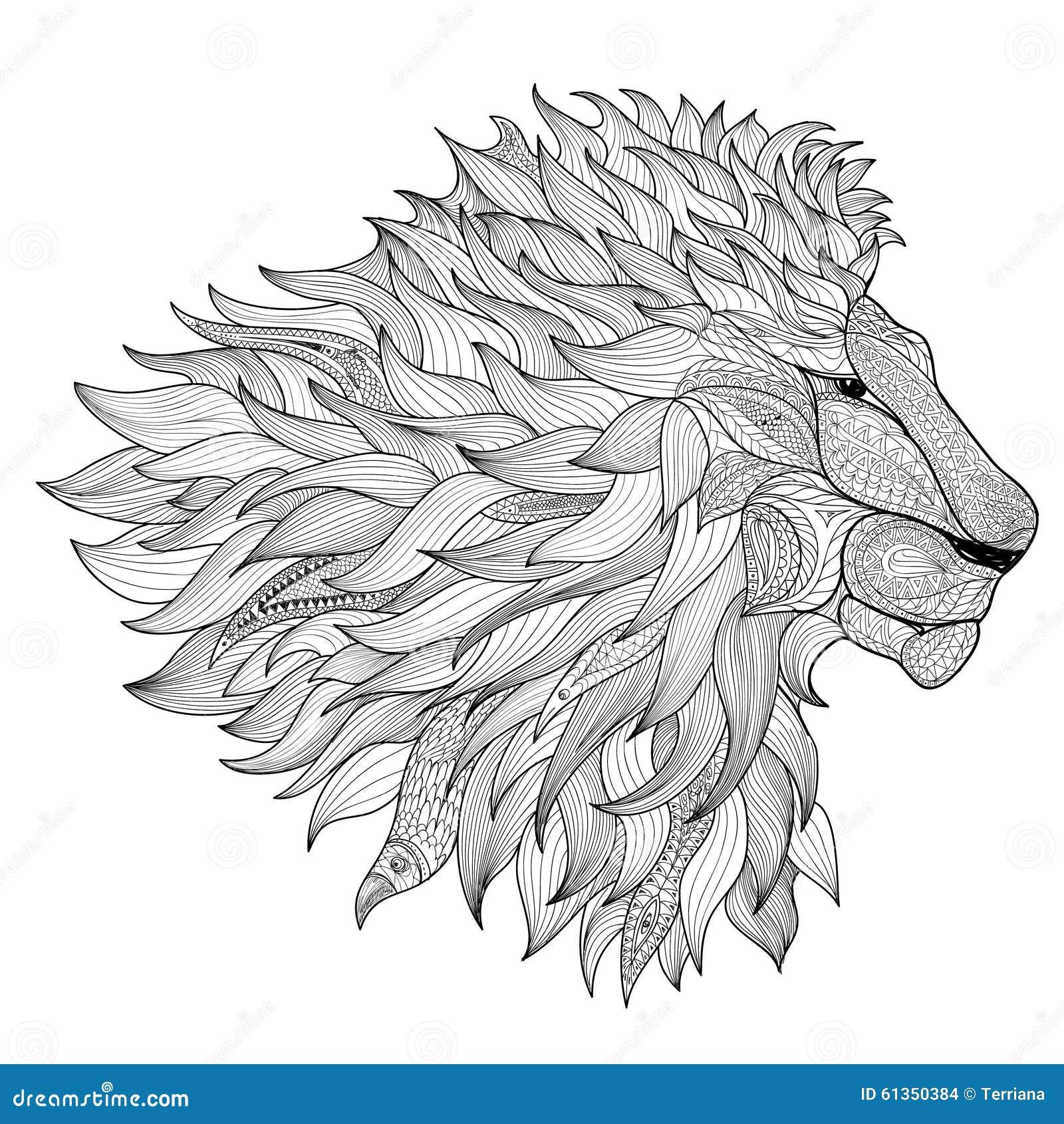 Lion Isolated Animal Zentangle Hand Drawn Illustration