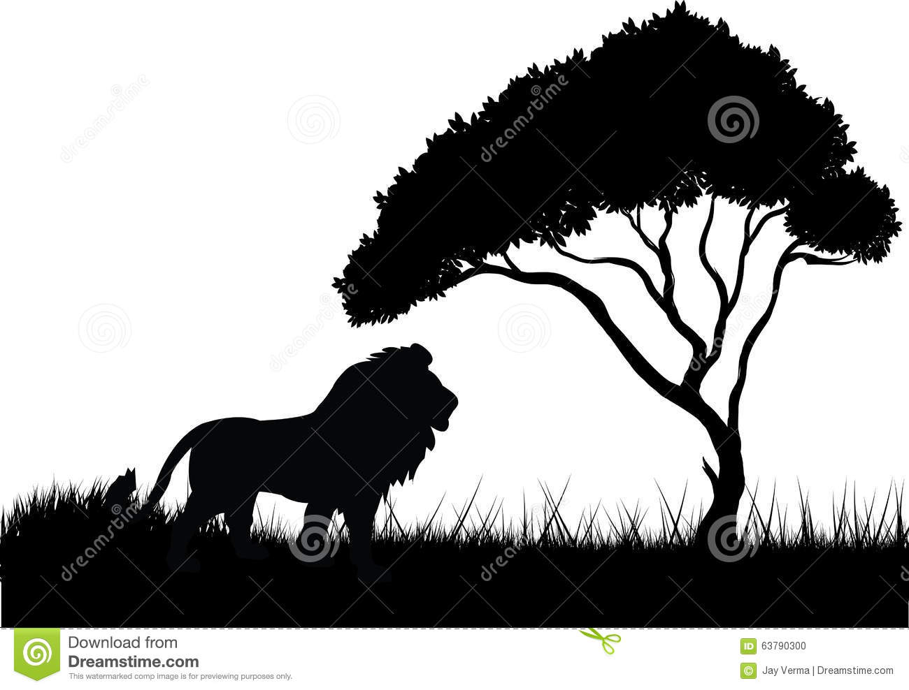 Lion In The Jungle Silhouette Stock Vector - Image: 63790300