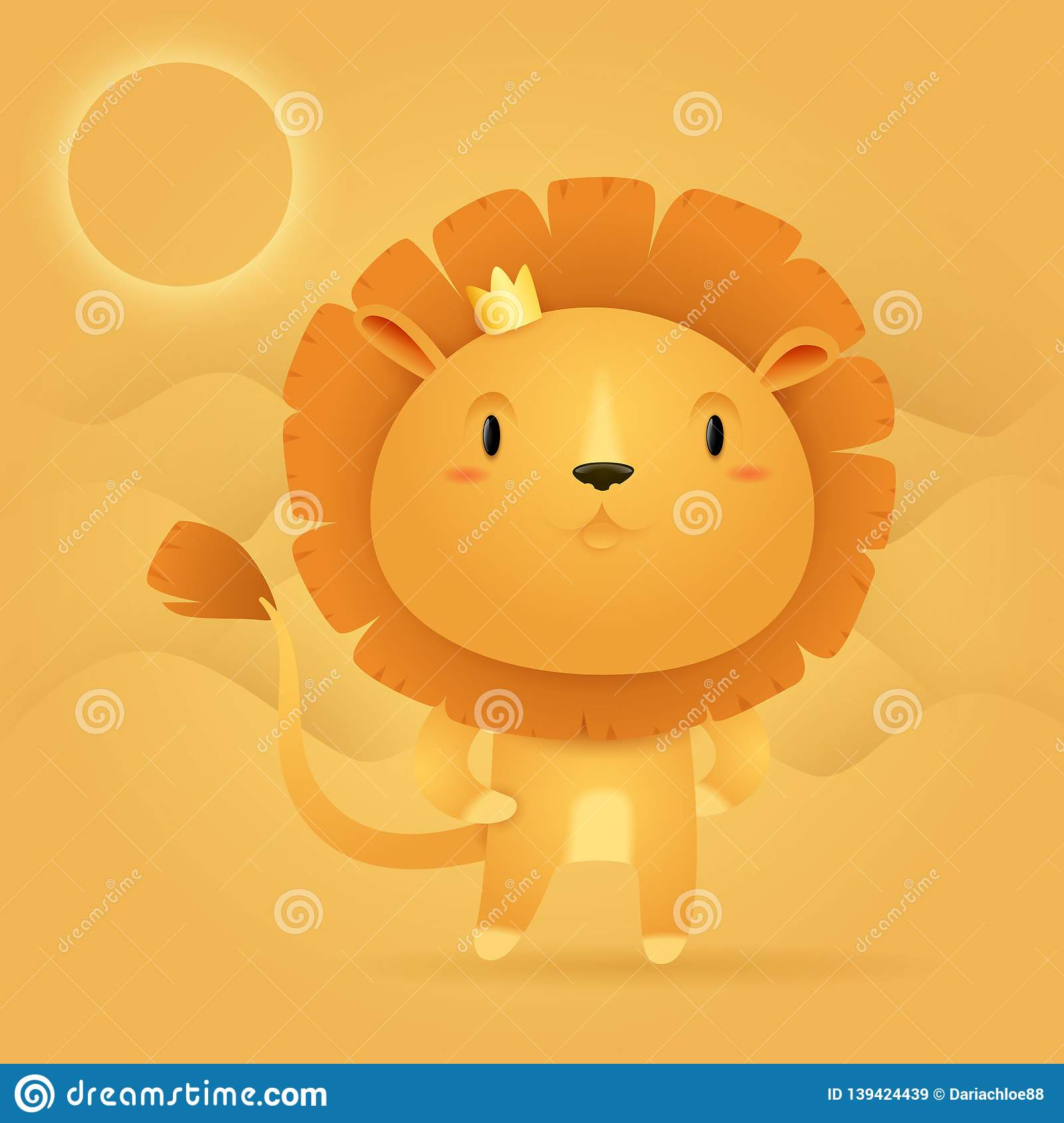 - Lion King With A Crown In A Desert Stock Illustration