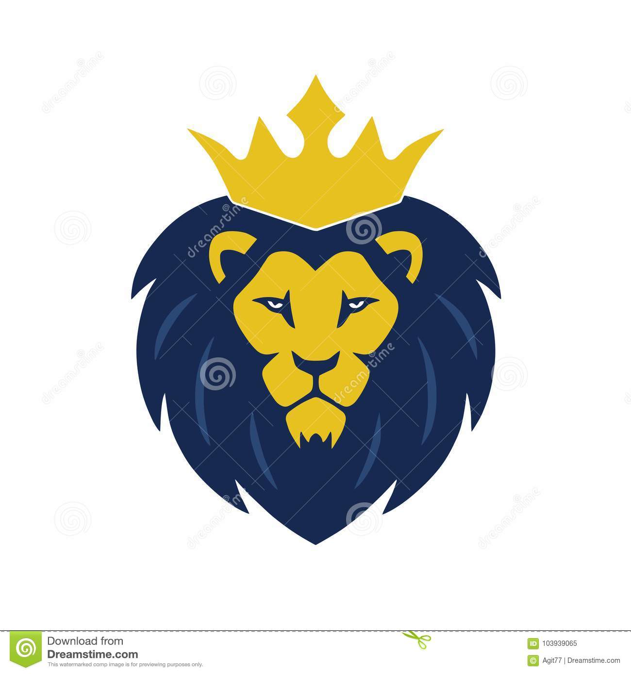 lion head with crown logo vector illustration