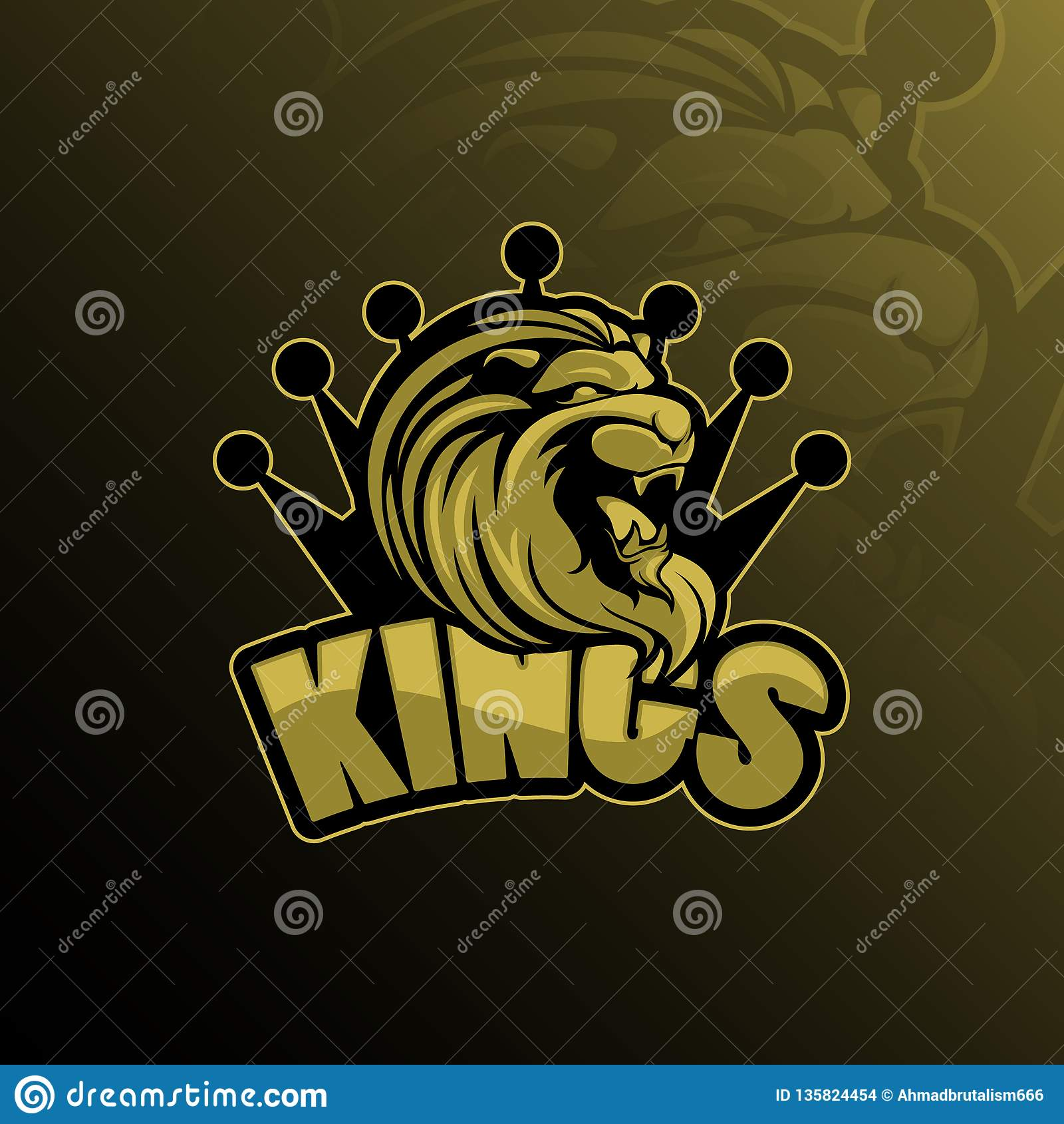 Lion king mascot logo design vector with modern illustration concept style for badge, emblem and tshirt printing. lion king