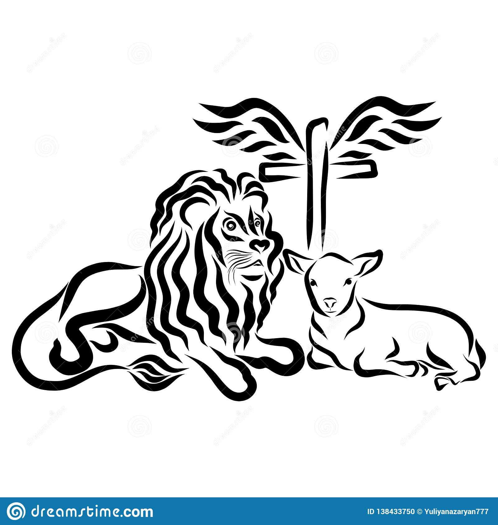Lion Lamb And Cross With Wings Symbolism Stock Illustration