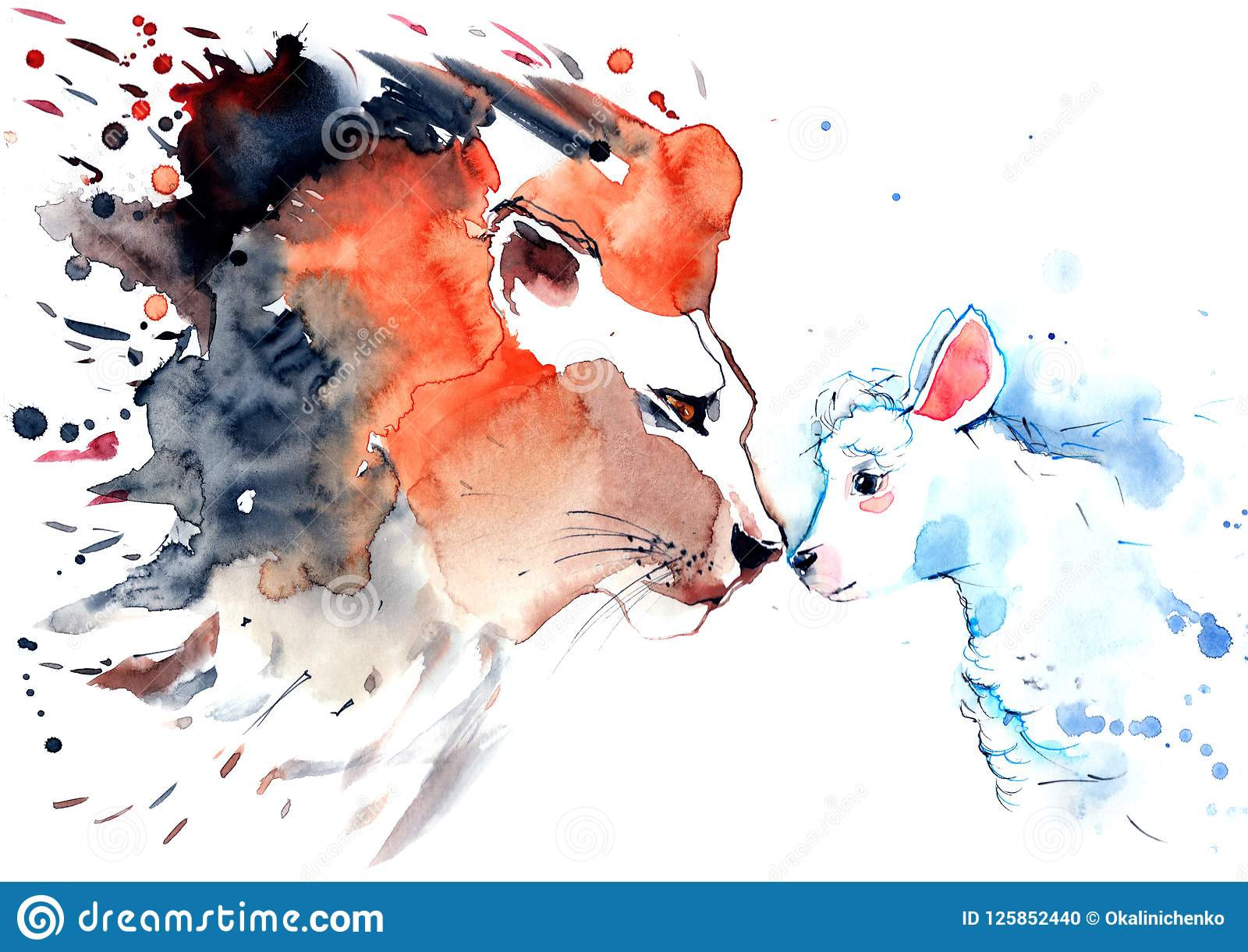 Lion And Lamb Stock Illustration Of Large