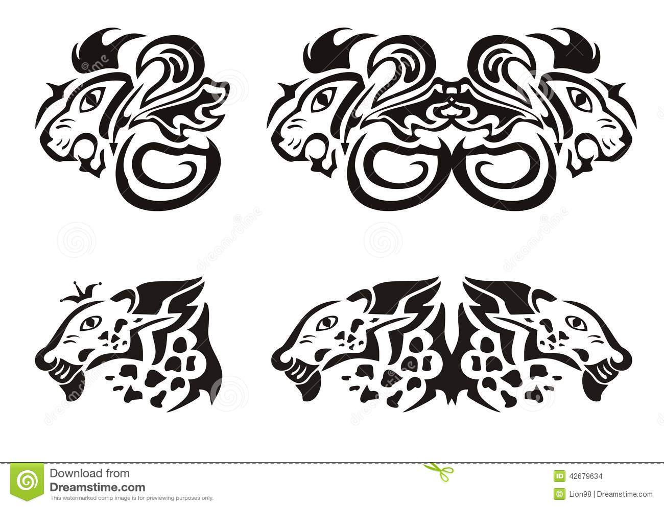 666b49f94 Lion And Leopard Heads In Tribal Style Stock Vector - Illustration ...