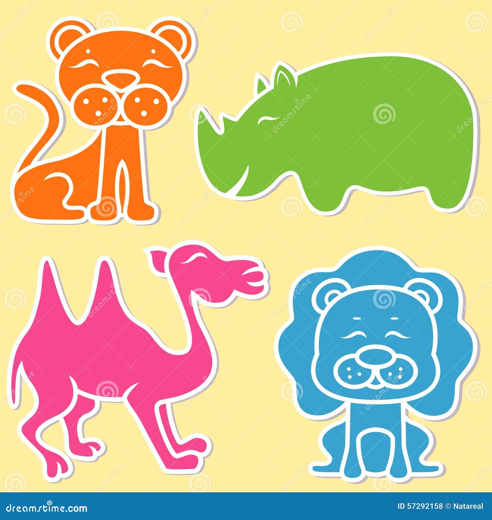 Cute Lion Mascot Cartoon Illustration Animal Wildlife Icon Concept:  Lion , Lioness, Rhino And Camel Stock Vector