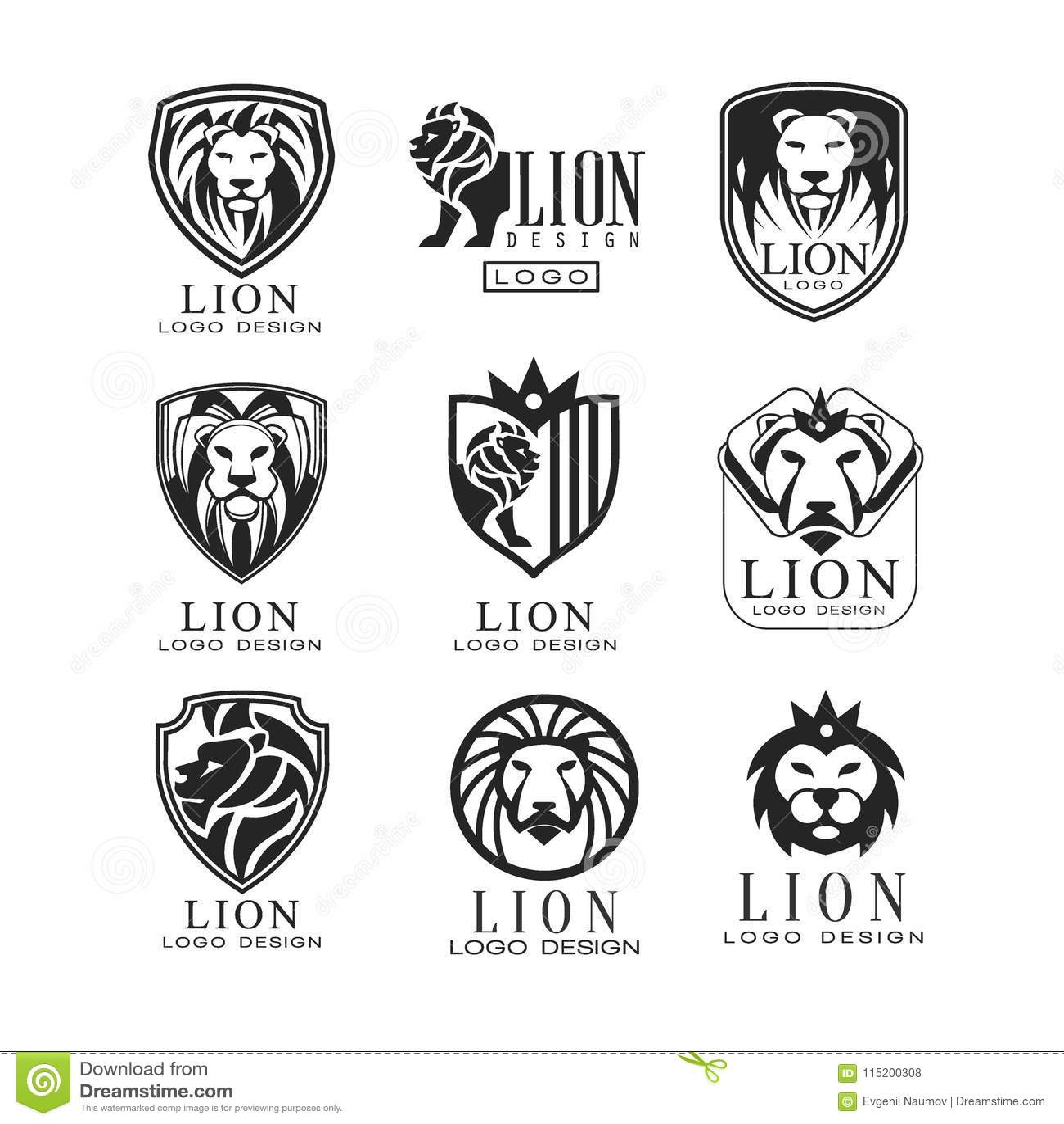 download lion logo design set design element for poster banner embem badge