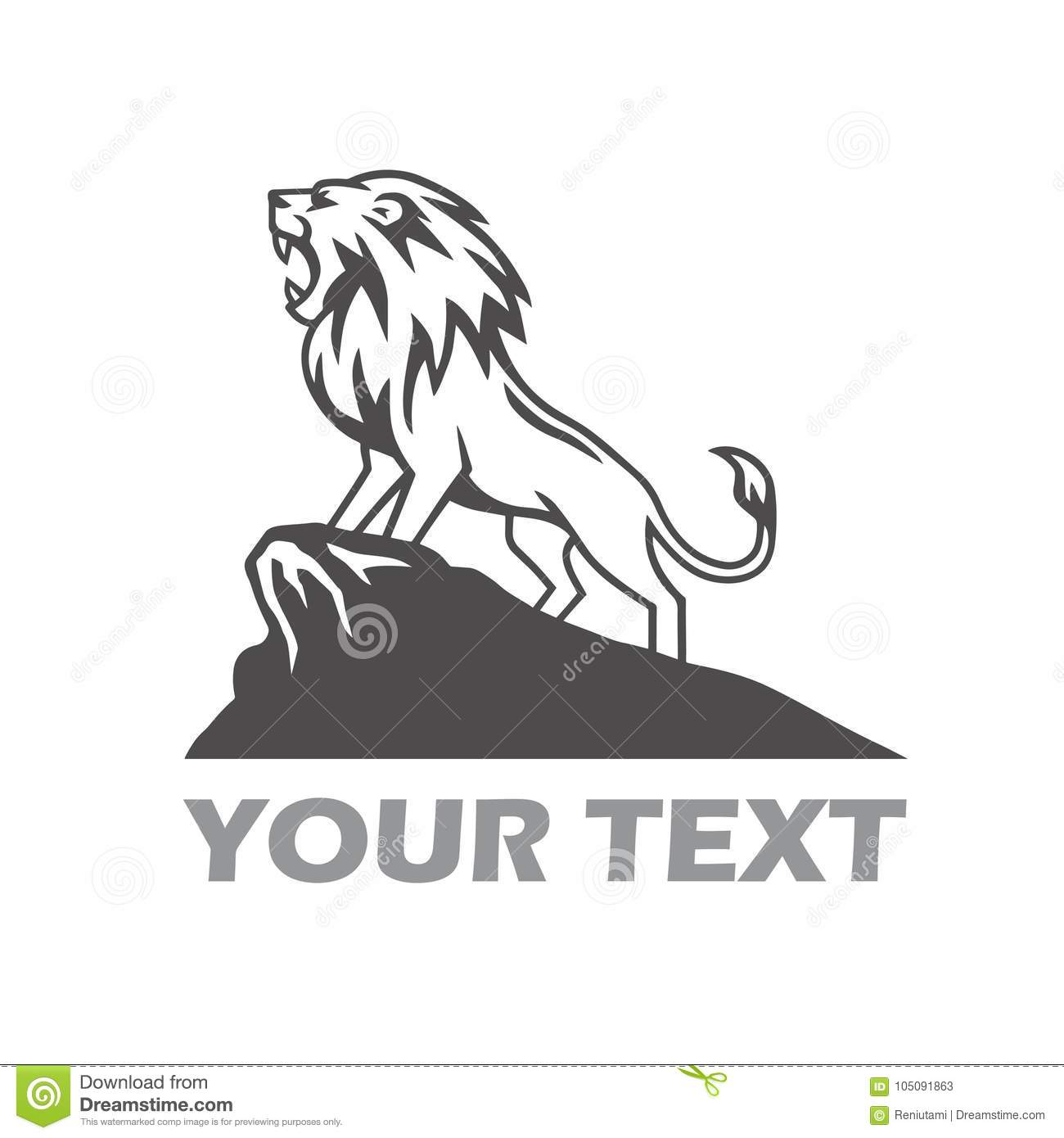 lion logo roaring in the mountain hill stock vector illustration