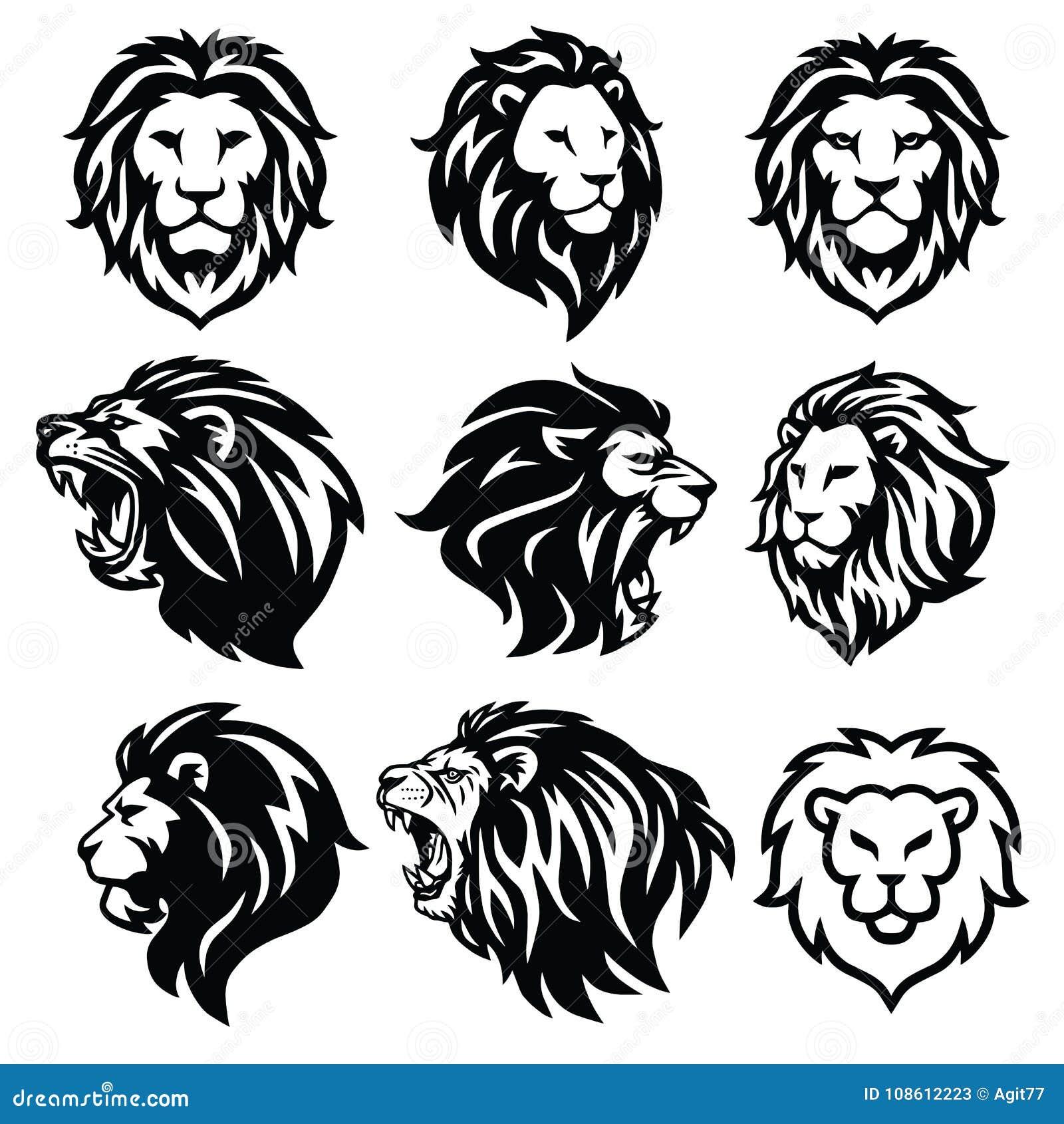 lion logo set premium design vector illustration stock vector