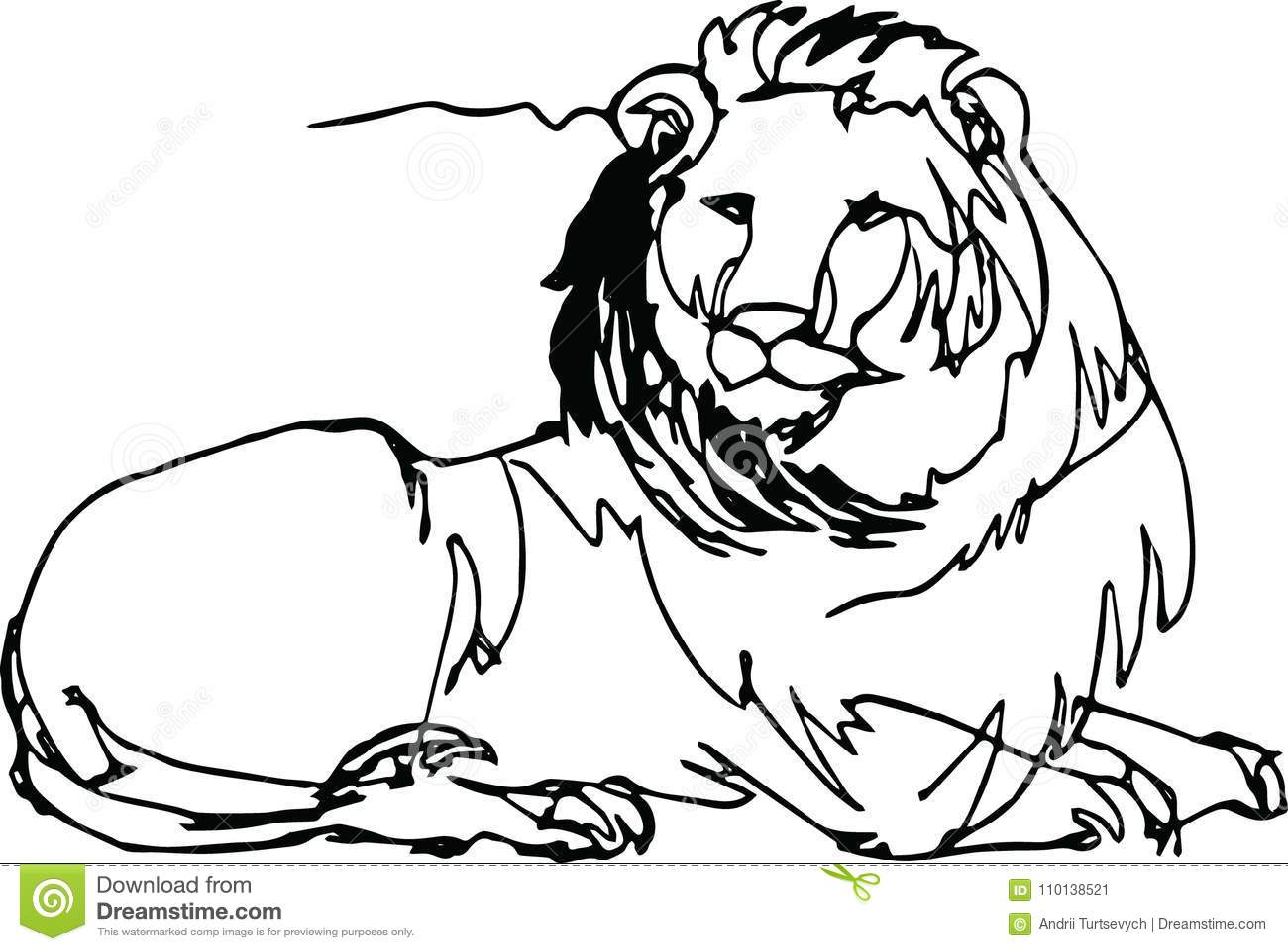 Line Art Lion : Lion lying africa continuous line stock vector illustration