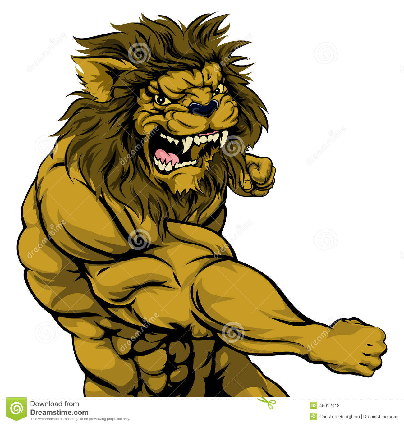 Lion Mascot Fighting Stock Vector - Image: 46012418