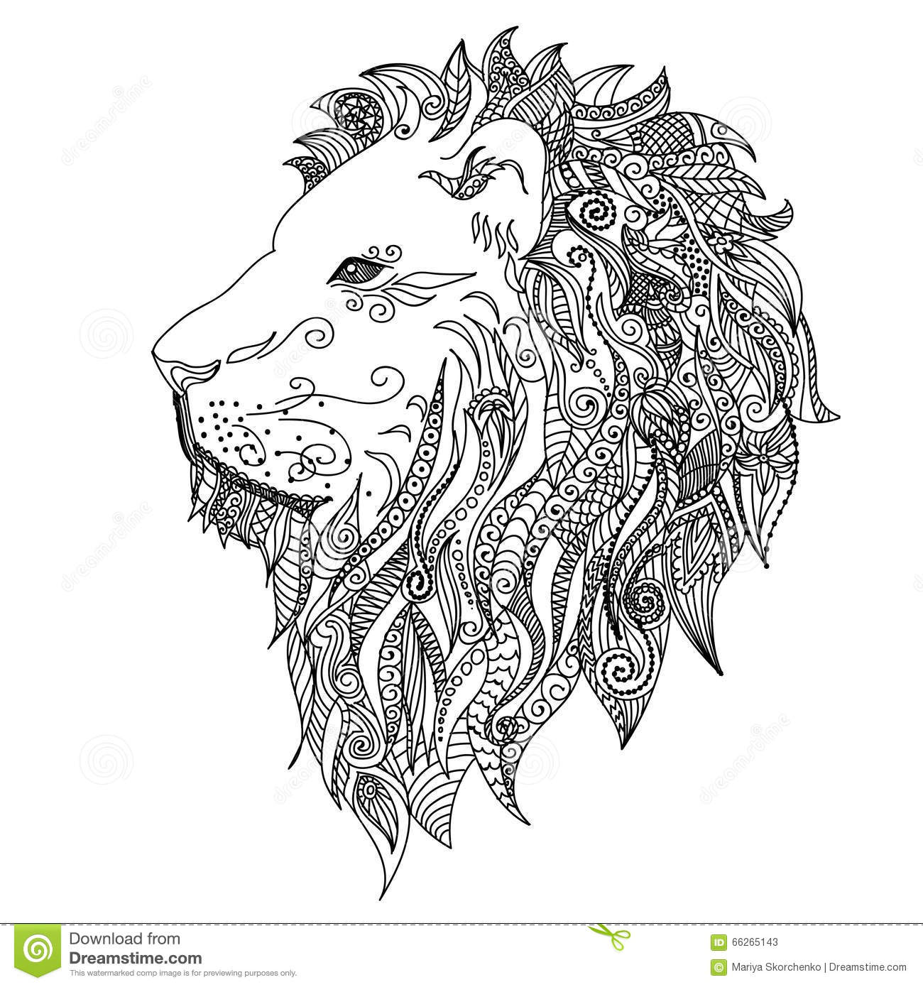 lion mehndi tattoo doodles style stock vector illustration of doodle drawn 66265143. Black Bedroom Furniture Sets. Home Design Ideas