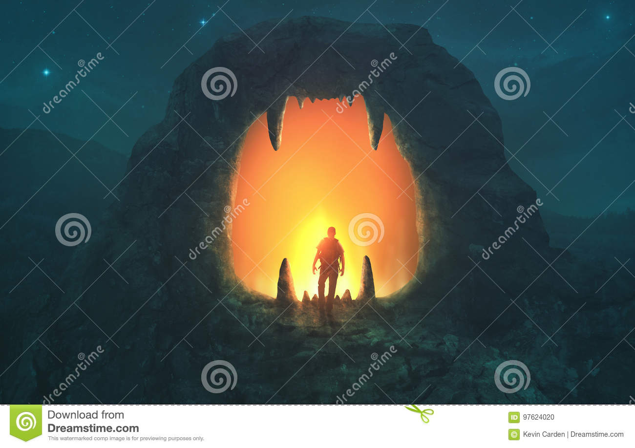 Download Lion mouth cave stock photo. Image of teeth, dangerous - 97624020