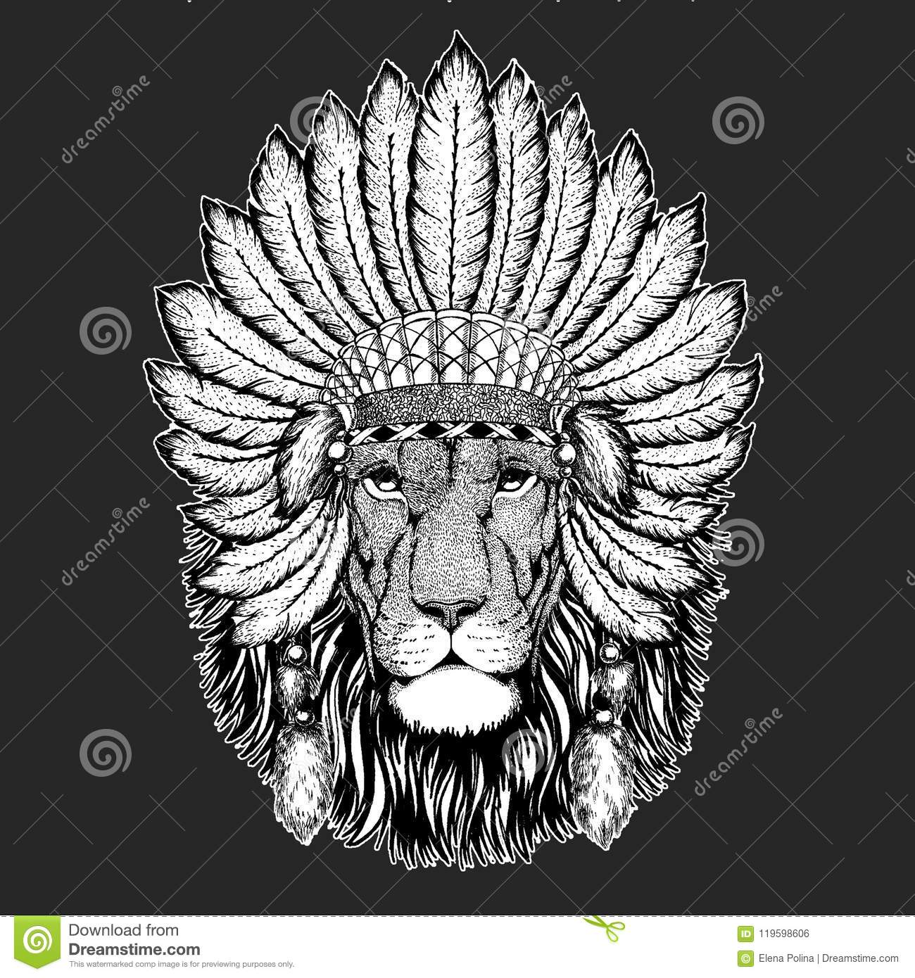 Lion Traditional Ethnic Indian Boho Headdress Tribal Shaman Hat