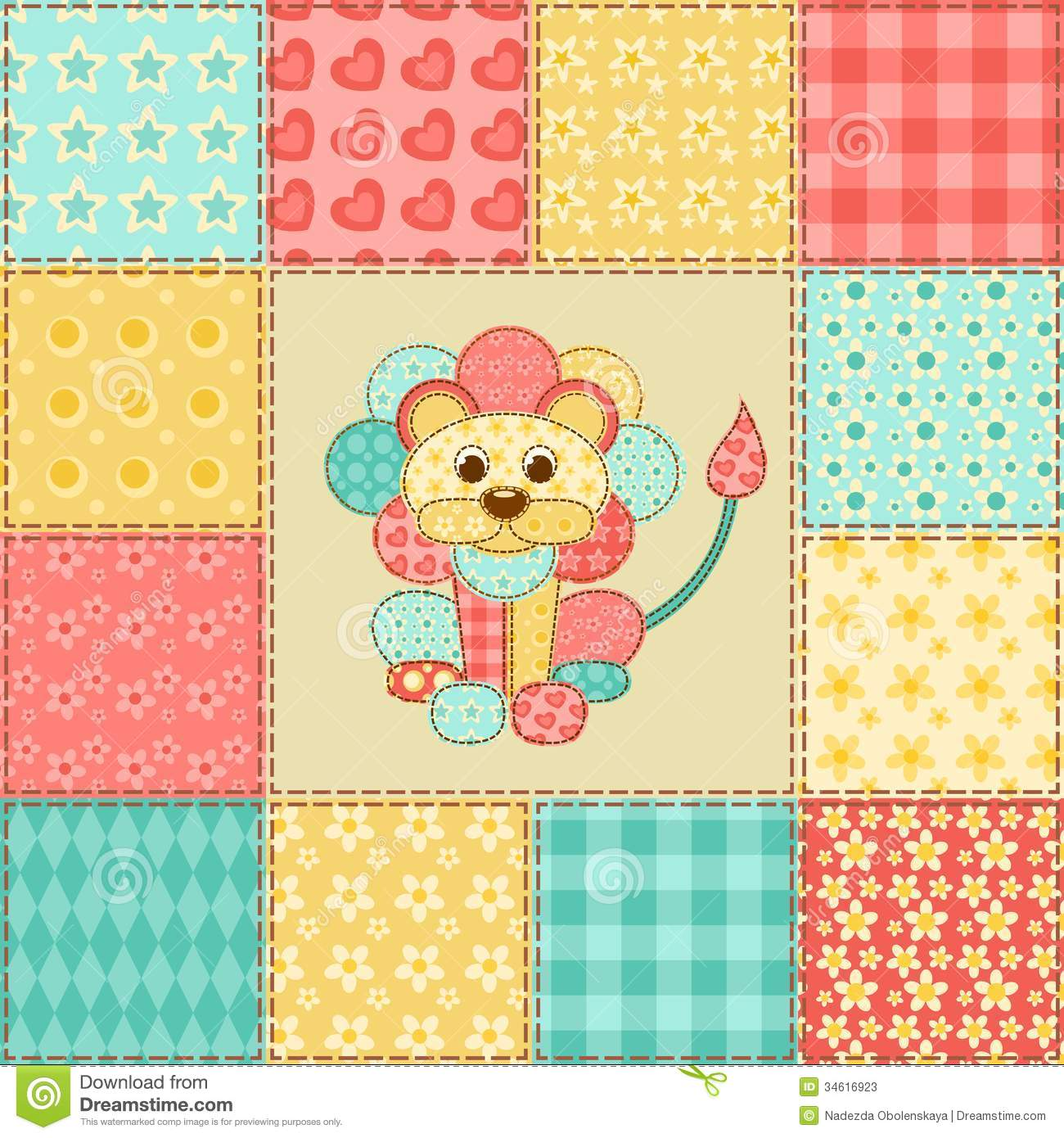Lion Patchwork Pattern Stock Photos Image 34616923