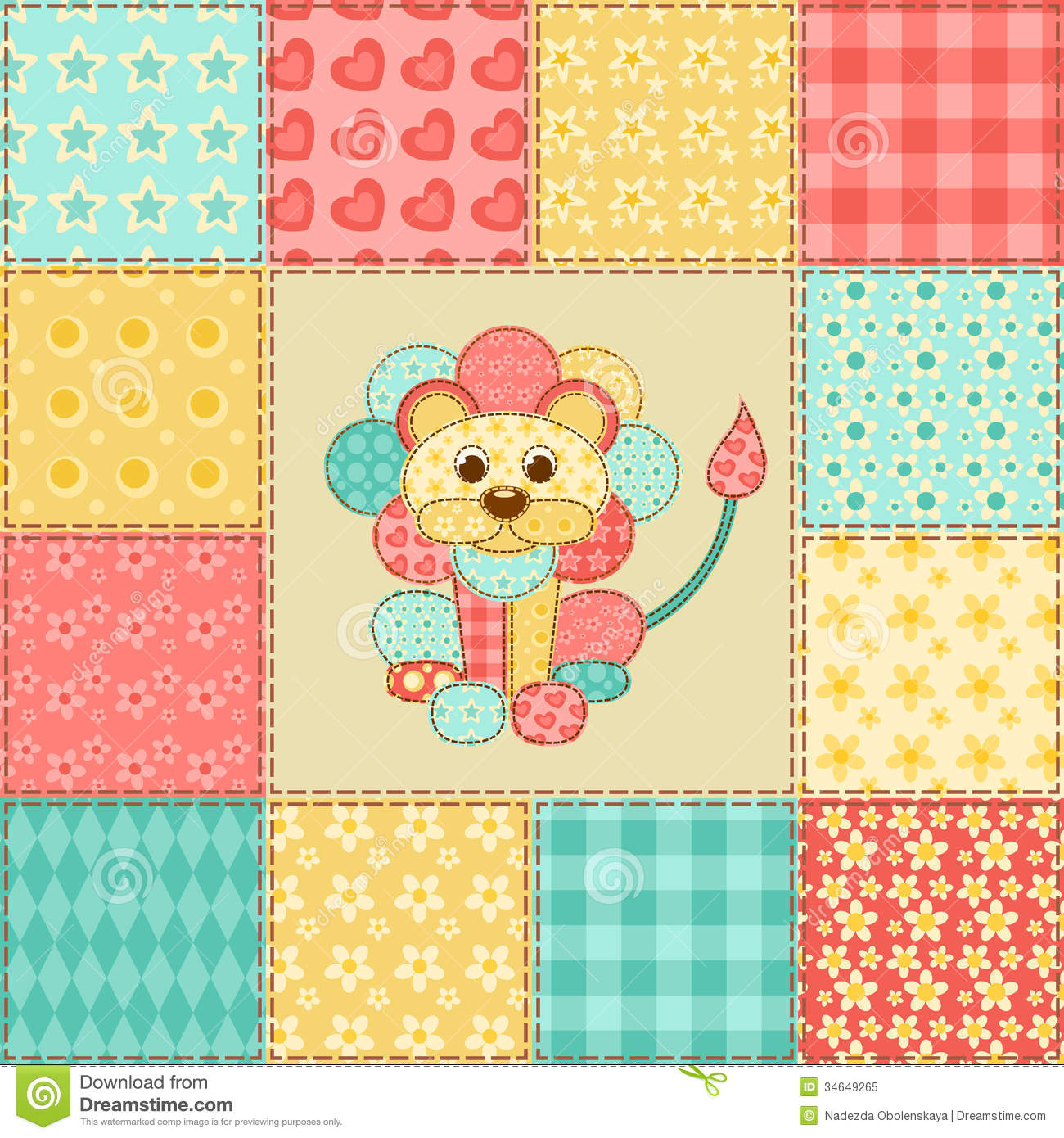 Lion Patchwork Pattern Royalty Free Stock Photo - Image ...
