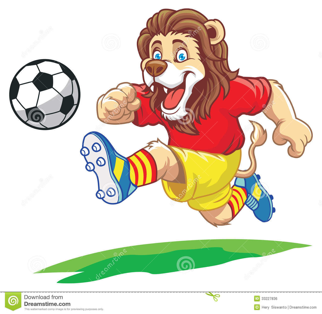 Lion Playing Soccer Royalty Free Stock Image - Image: 33227836