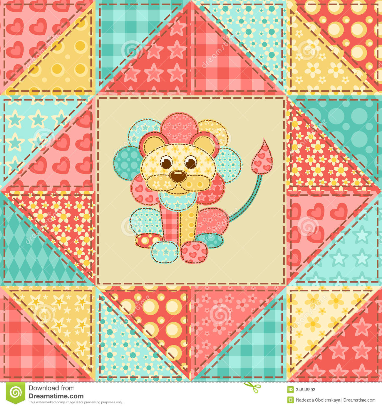Lion Quilt Pattern Stock Vector Image Of Multicolored
