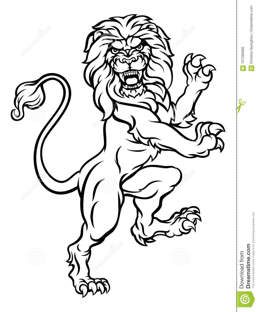 a6df03821b1ab A lion rampant standing on hind legs from a coat of arms or heraldic crest