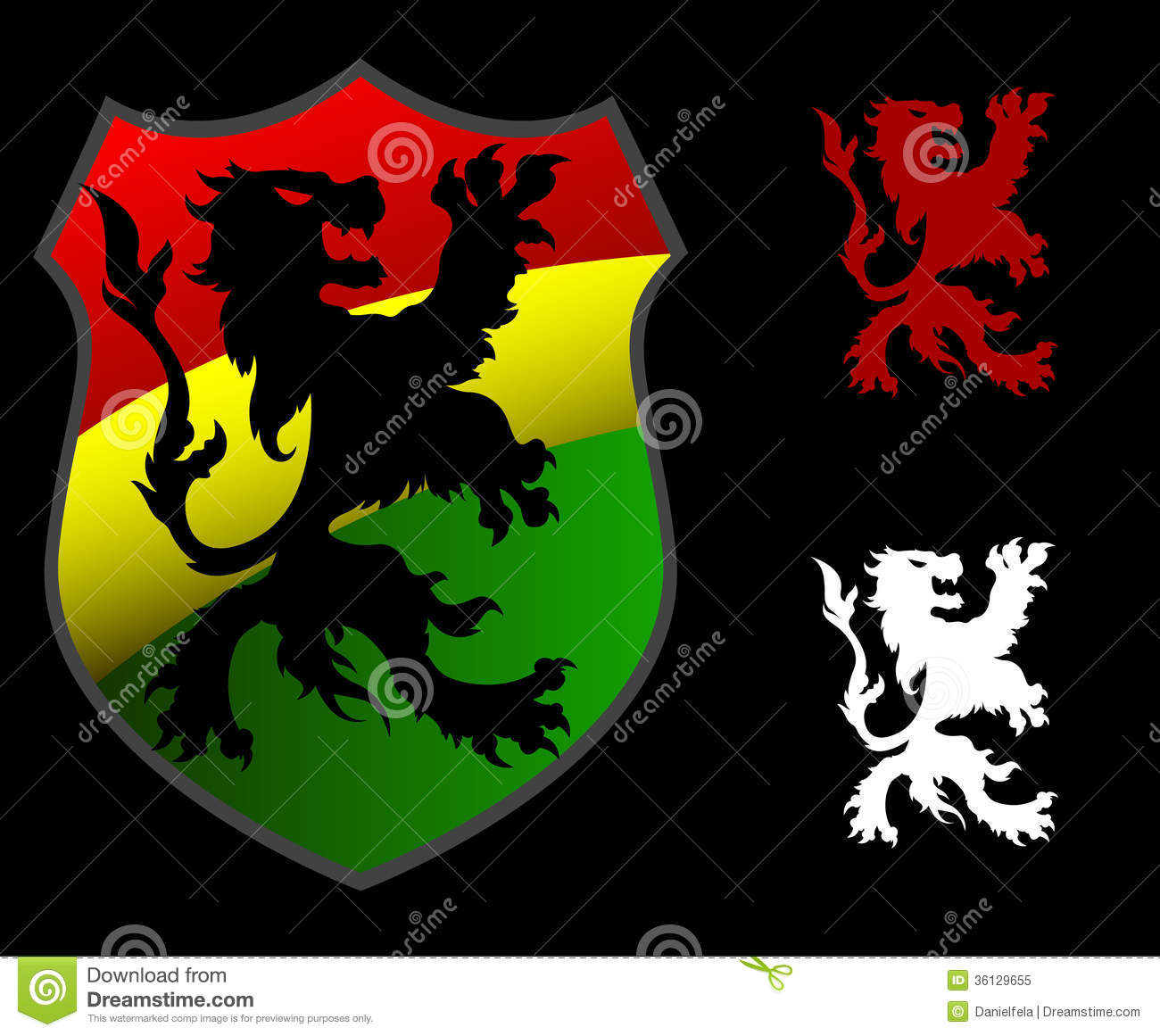 Rastafarian 2: Lion Rastafarian Shield Stock Vector. Image Of Animals