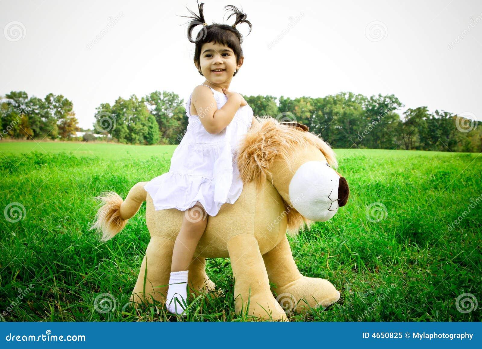 The expert, Girl rides teddy bear share