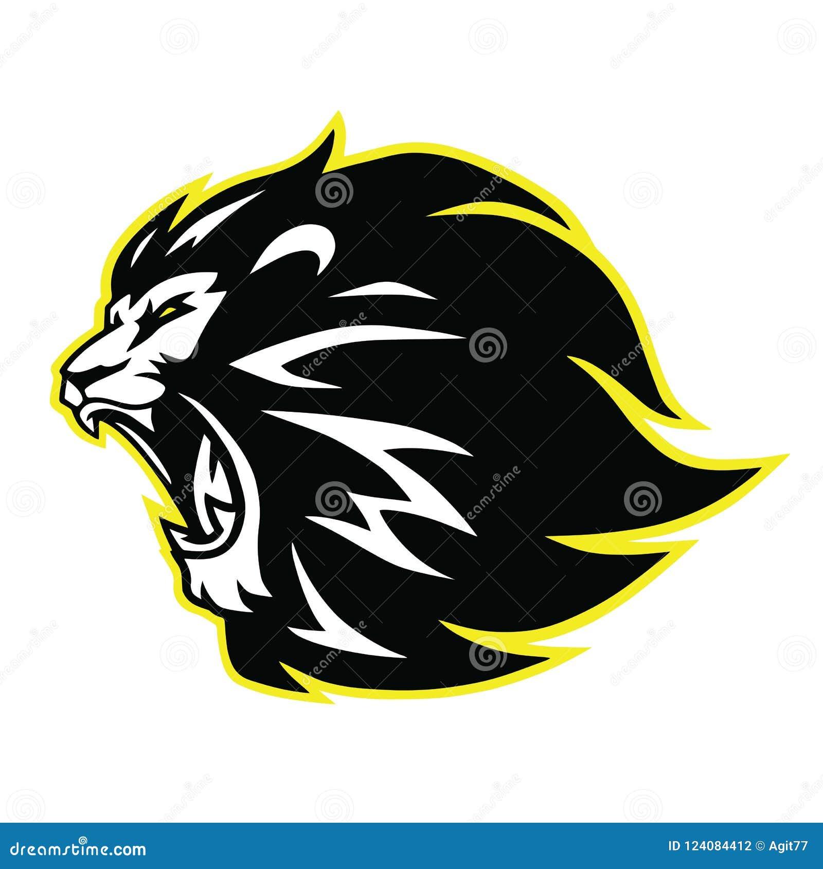 Lion Roaring Head Logo, Sign, Vector Black And White Design Icon