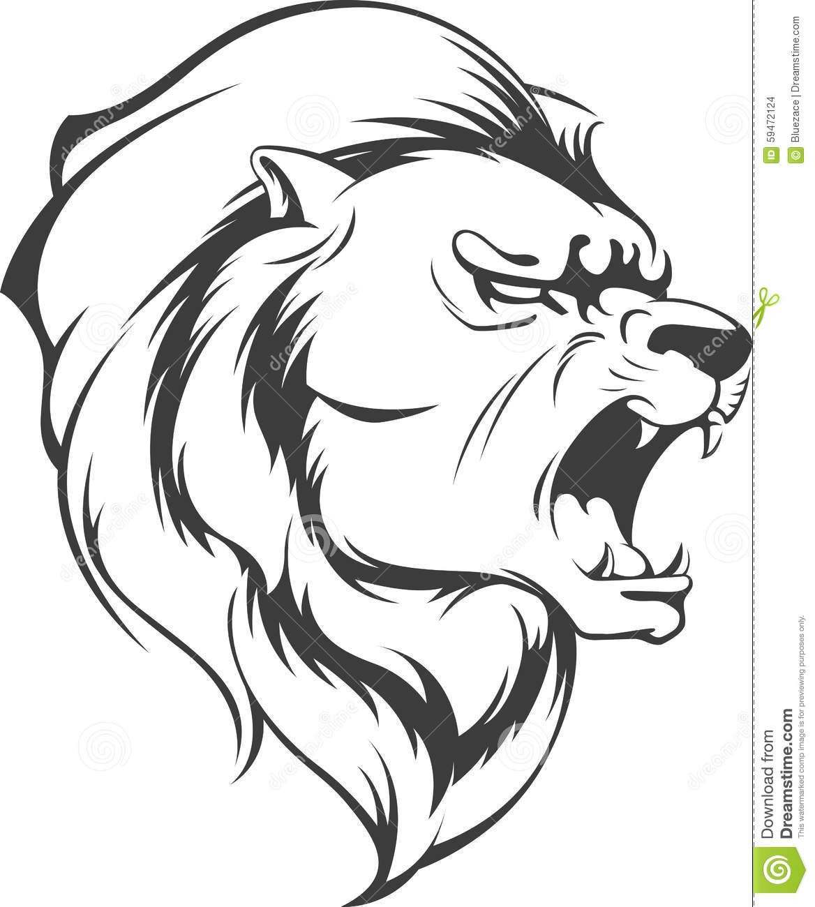 Lion Roaring Vector Silhouette Stock Vector - Illustration ...