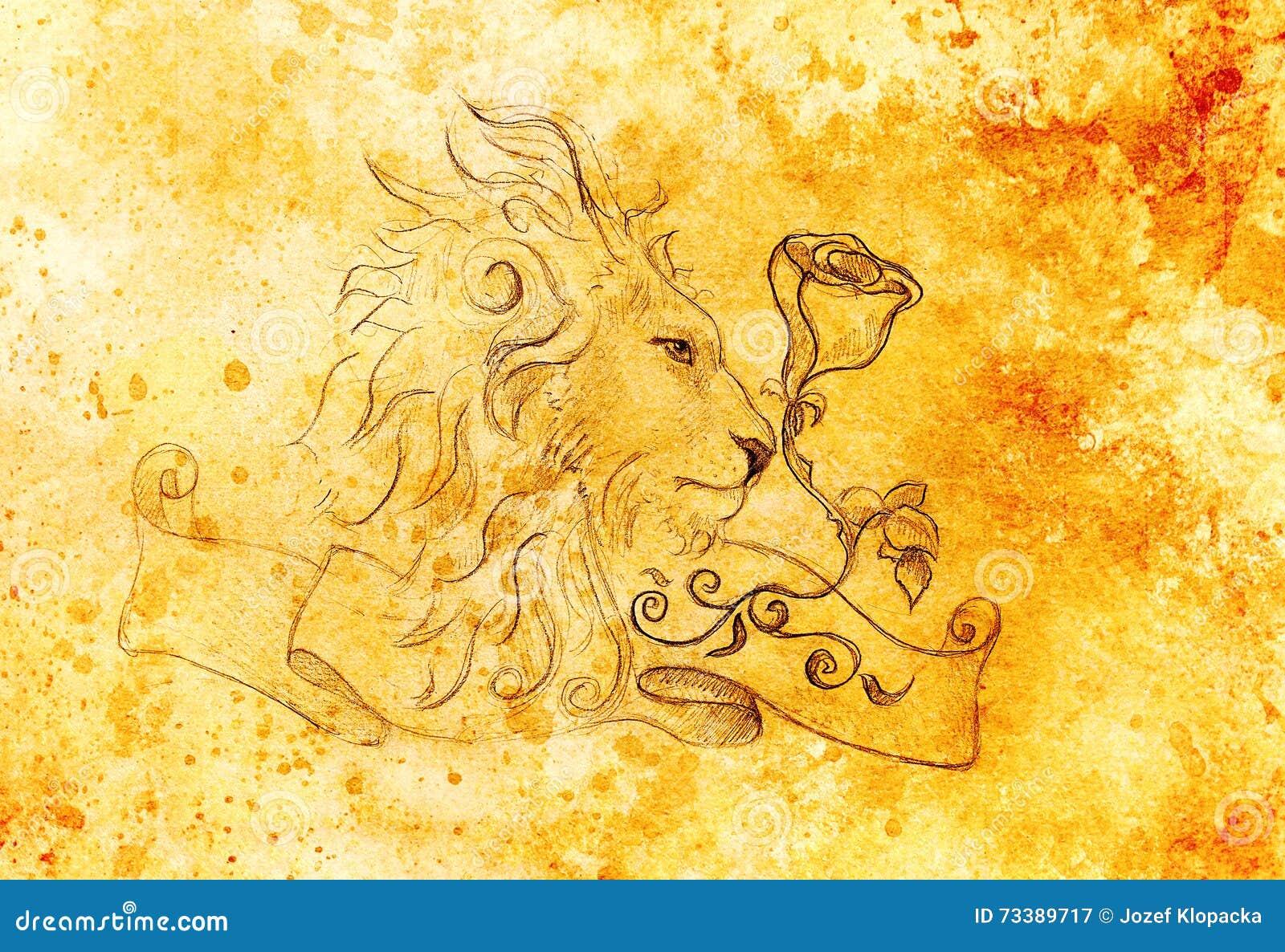 Lion Face Color Realistic Cartoon Vector