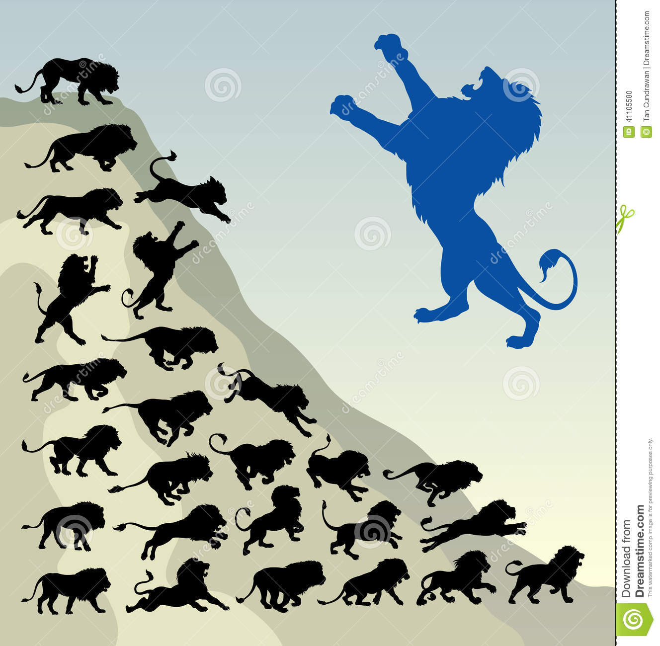 Lion Running Silhouettes Stock Vector Image 41105580